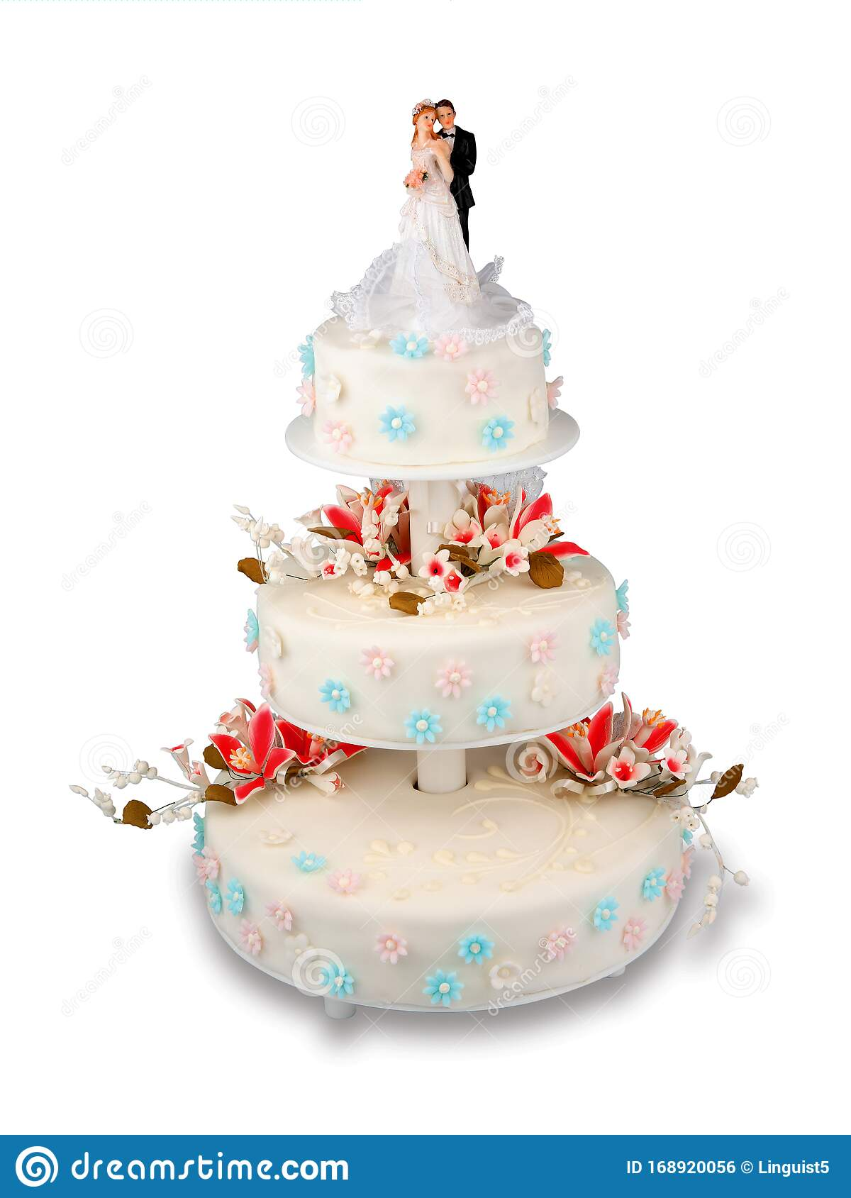 Multilayered Wedding Cake With Frosting And Figures Of Bride And Groom Stock Photo Image Of Cake Decorated 168920056