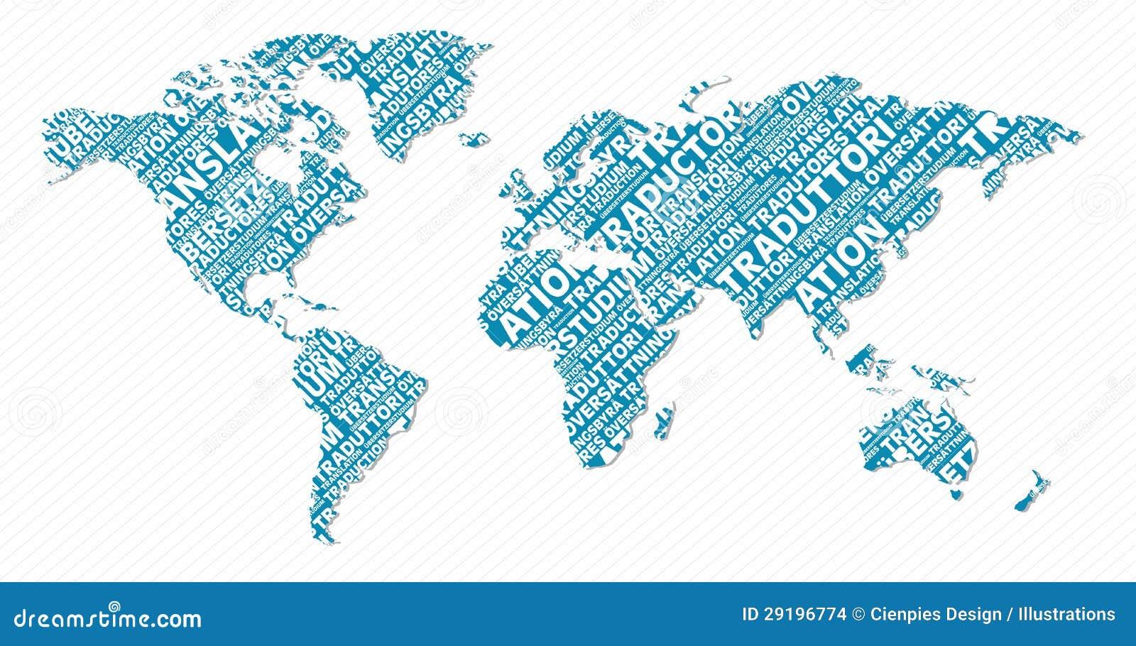Translation Concept Map.Multilingual Translation World Map Concept Stock Vector