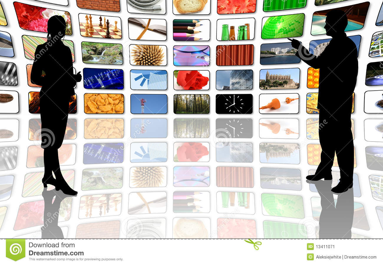 multimedia center business presentation stock image