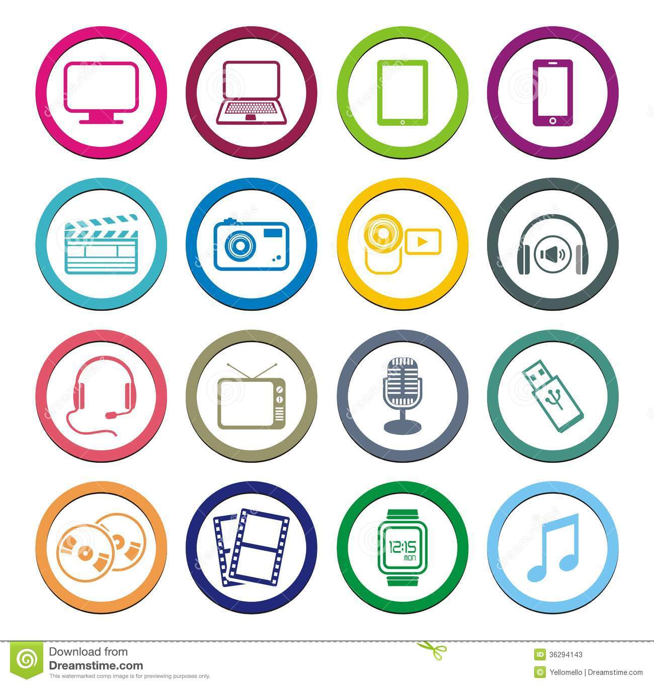multimedia circle icon sets stock vector illustration of headphone vector graphic headphone vector logo