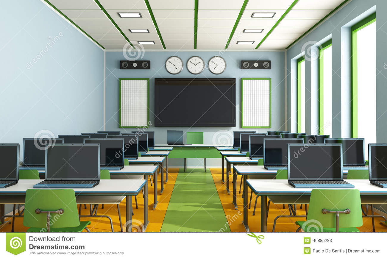 Multimedia Classroom Without Student Stock Illustration