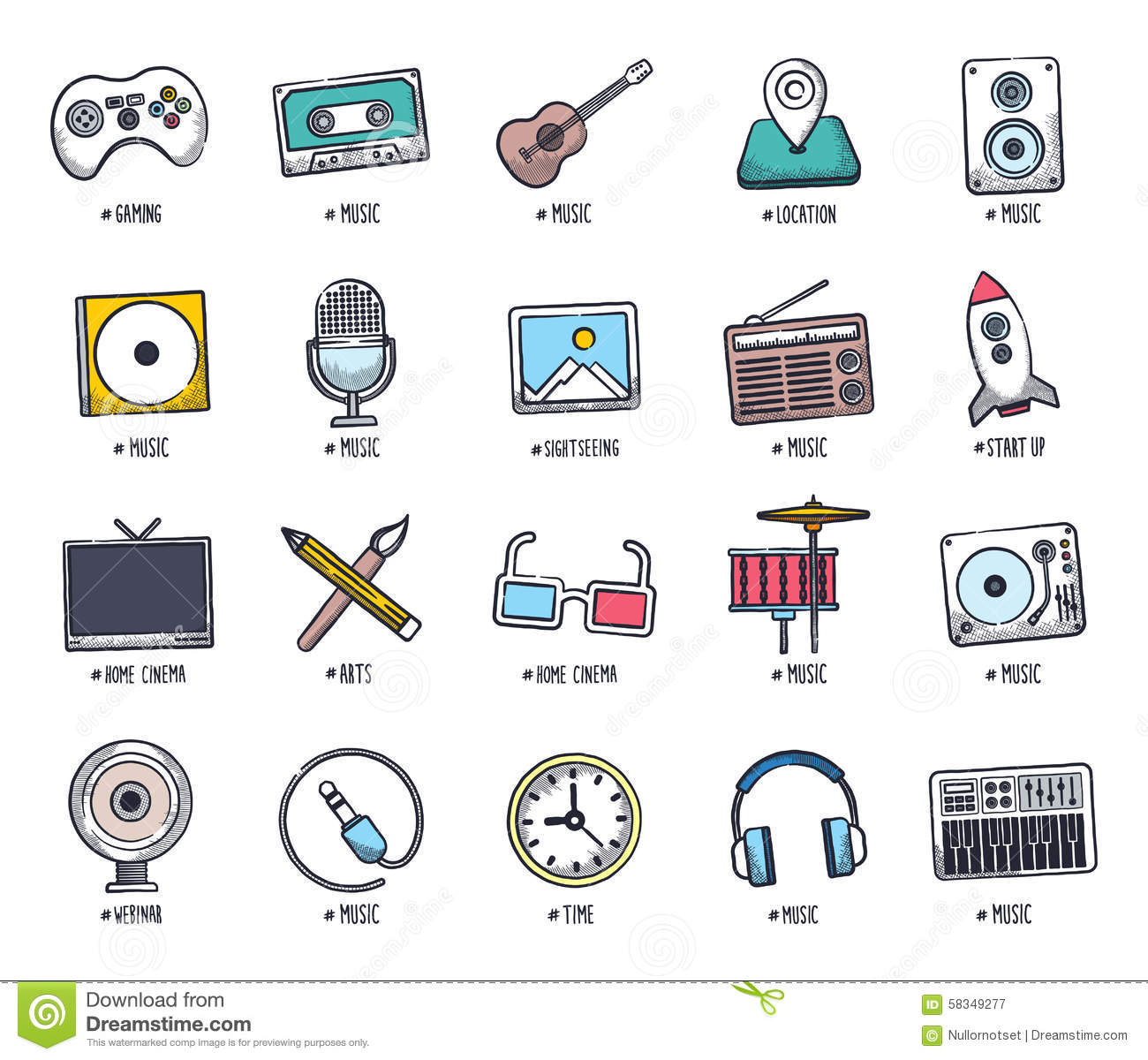 Drawing human ear royalty free stock photography image 25570937 - Multimedia Doodle Icon Set Royalty Free Stock Photography