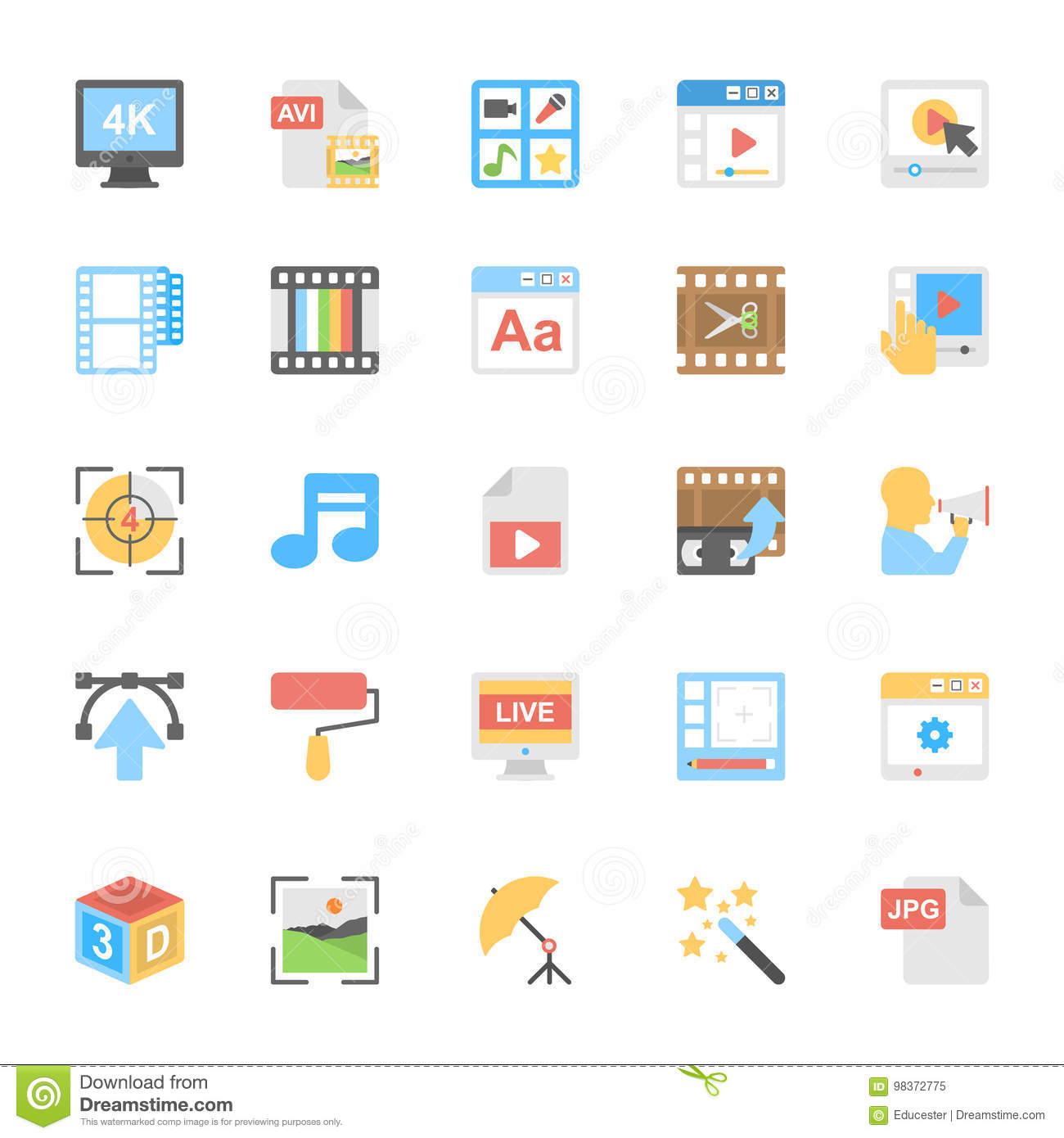 Multimedia Flat Colored Icons 8