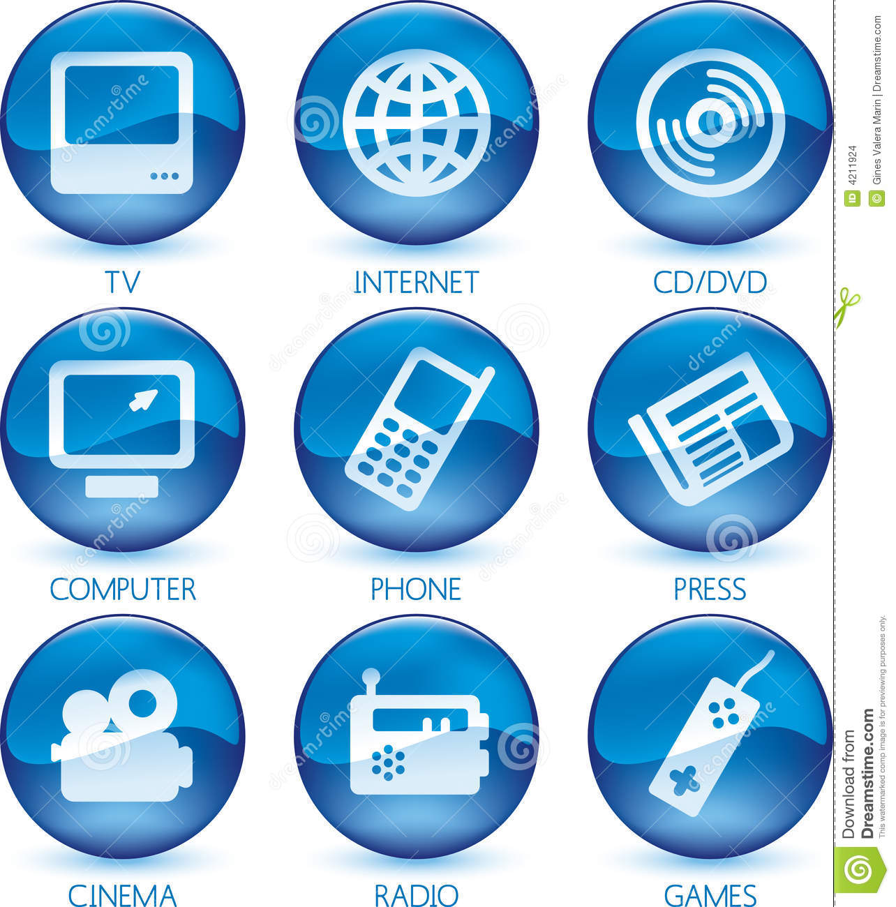 Cymk Puzzle Multimedia Icon Set Blue Vector Stock Images Image