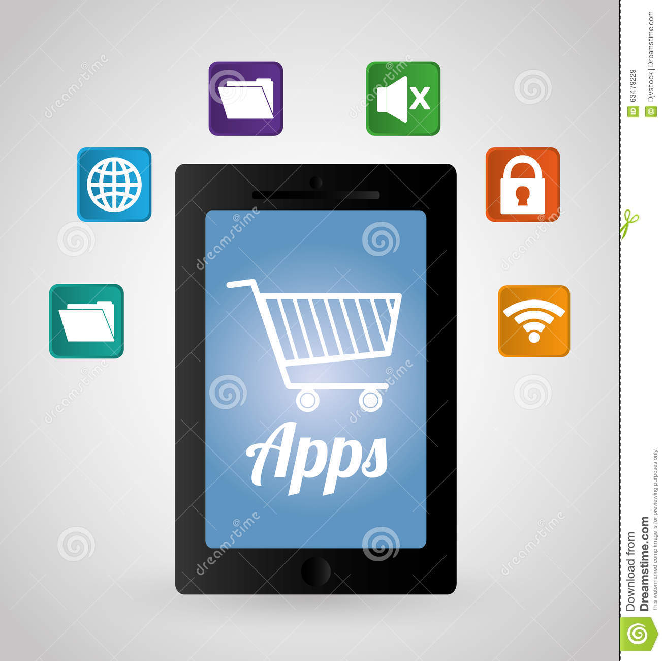 Multimedia Mobile Applications Stock Vector Image 63479229