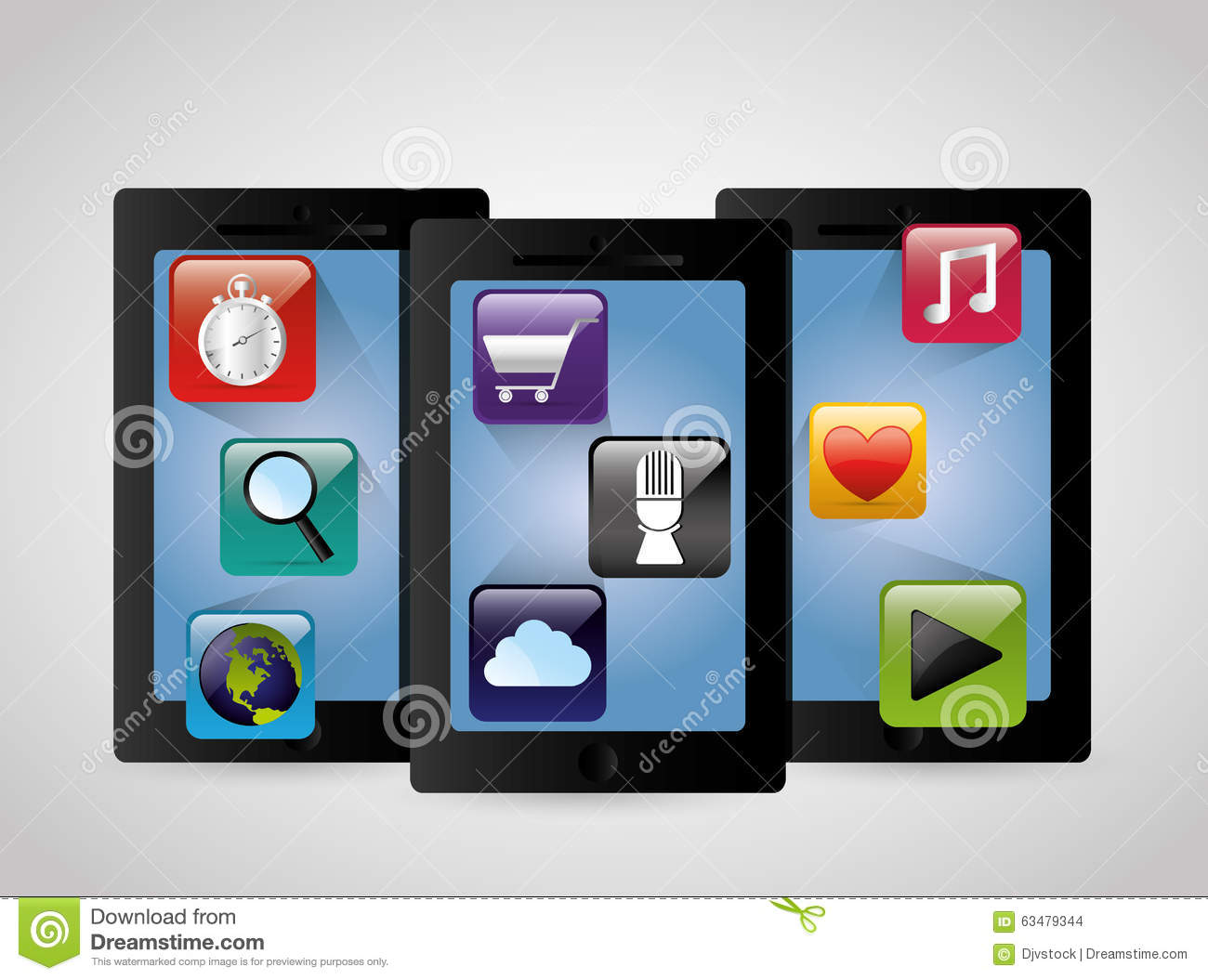 Multimedia Mobile Applications Stock Vector Image 63479344