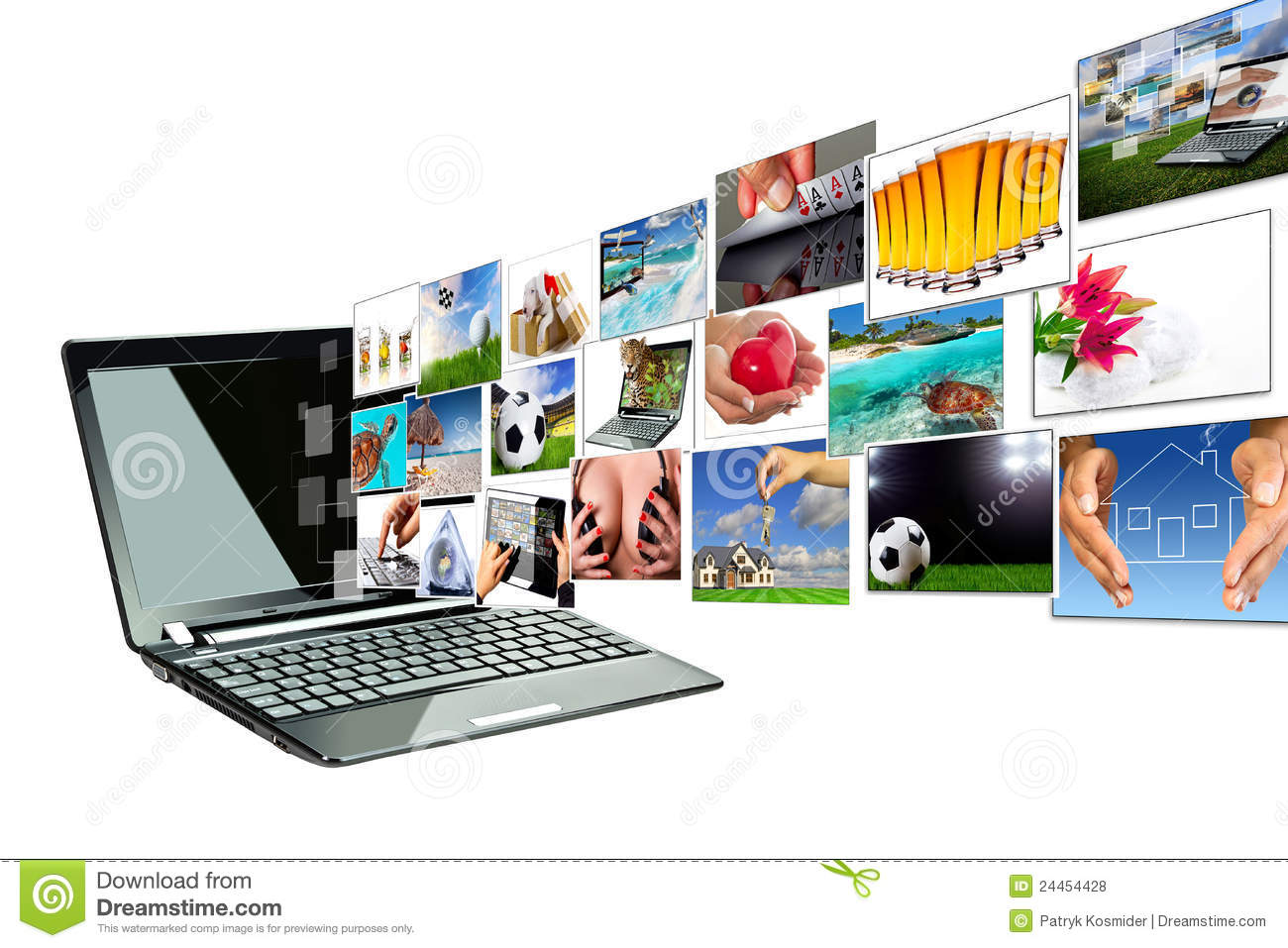 Online Design Software Multimedia Streaming From The Laptop Screen Stock Photo