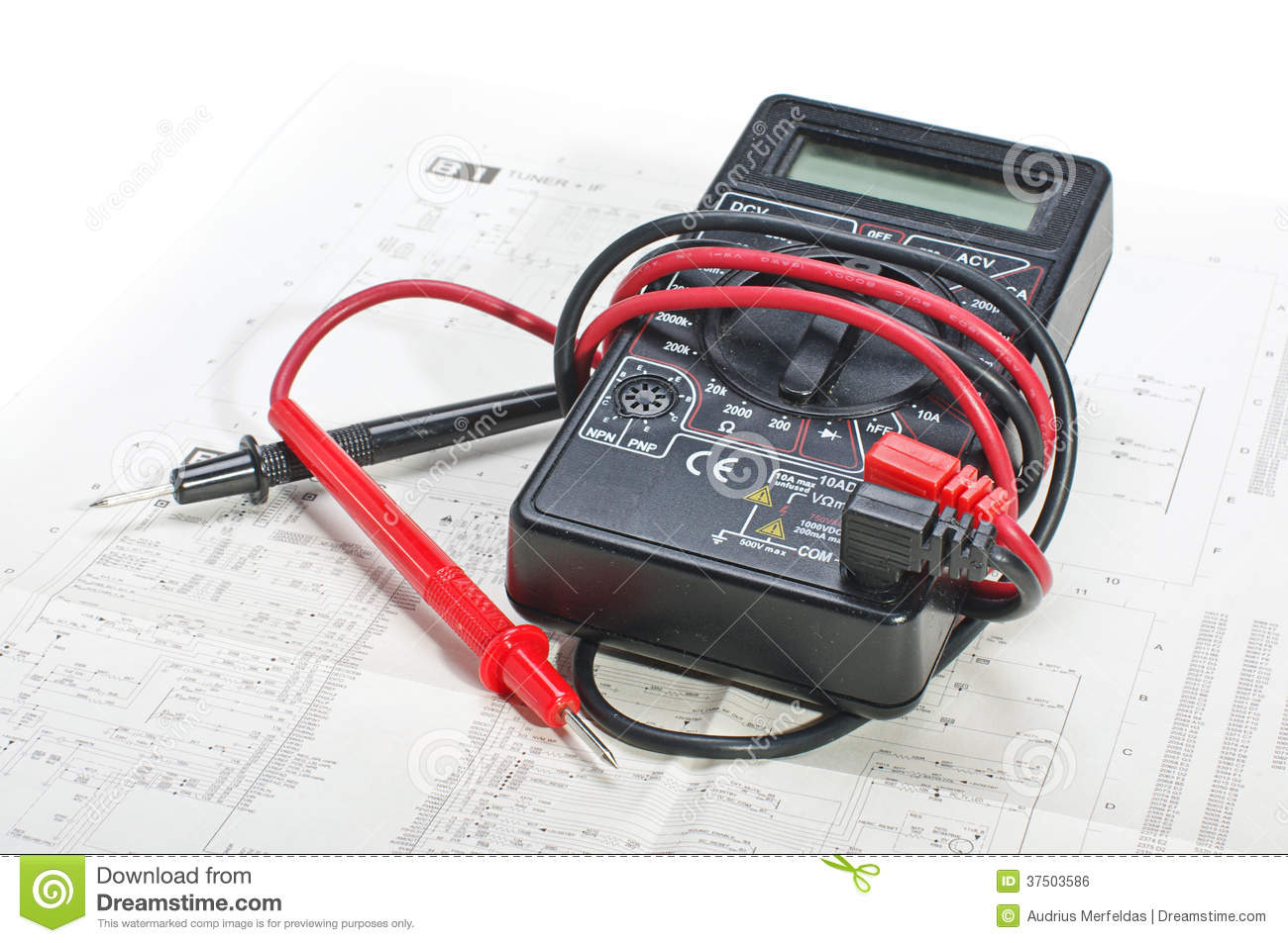 Multimeter And Electronic Schematics Stock Photo Image Of