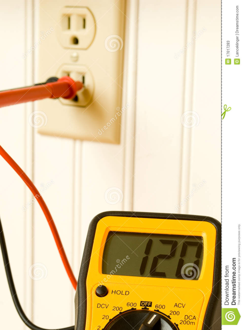 Outlet Wattage Meter : Multimeter testing outlet stock image of volt
