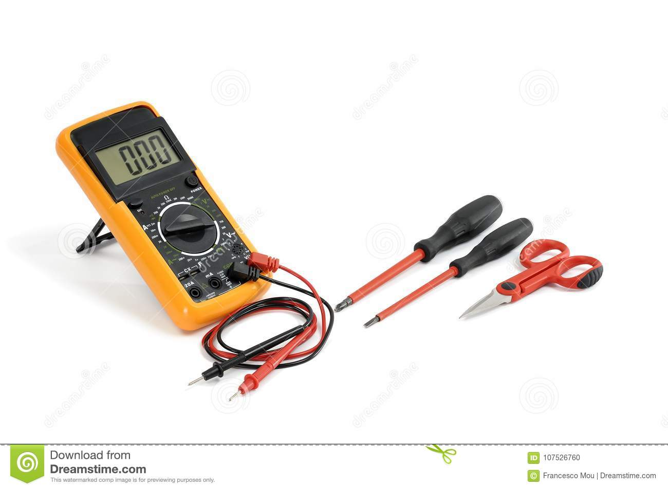 Close-up Of Work Equipment On Electrical Installations, On A Whi ...