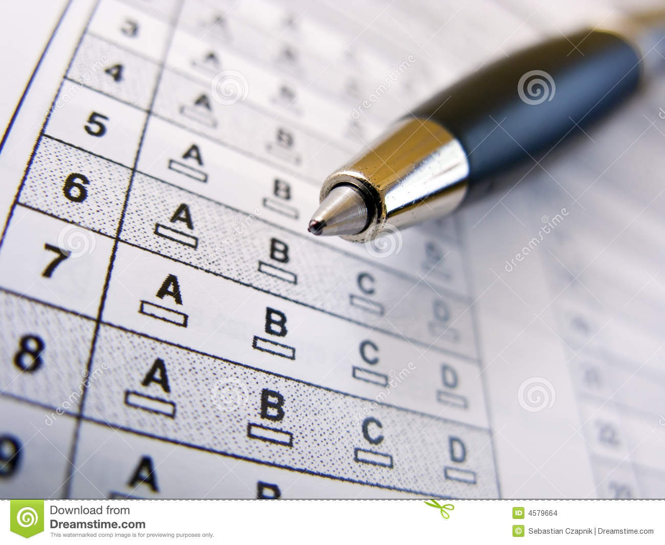 multiple choice test stock photo  image of numbered