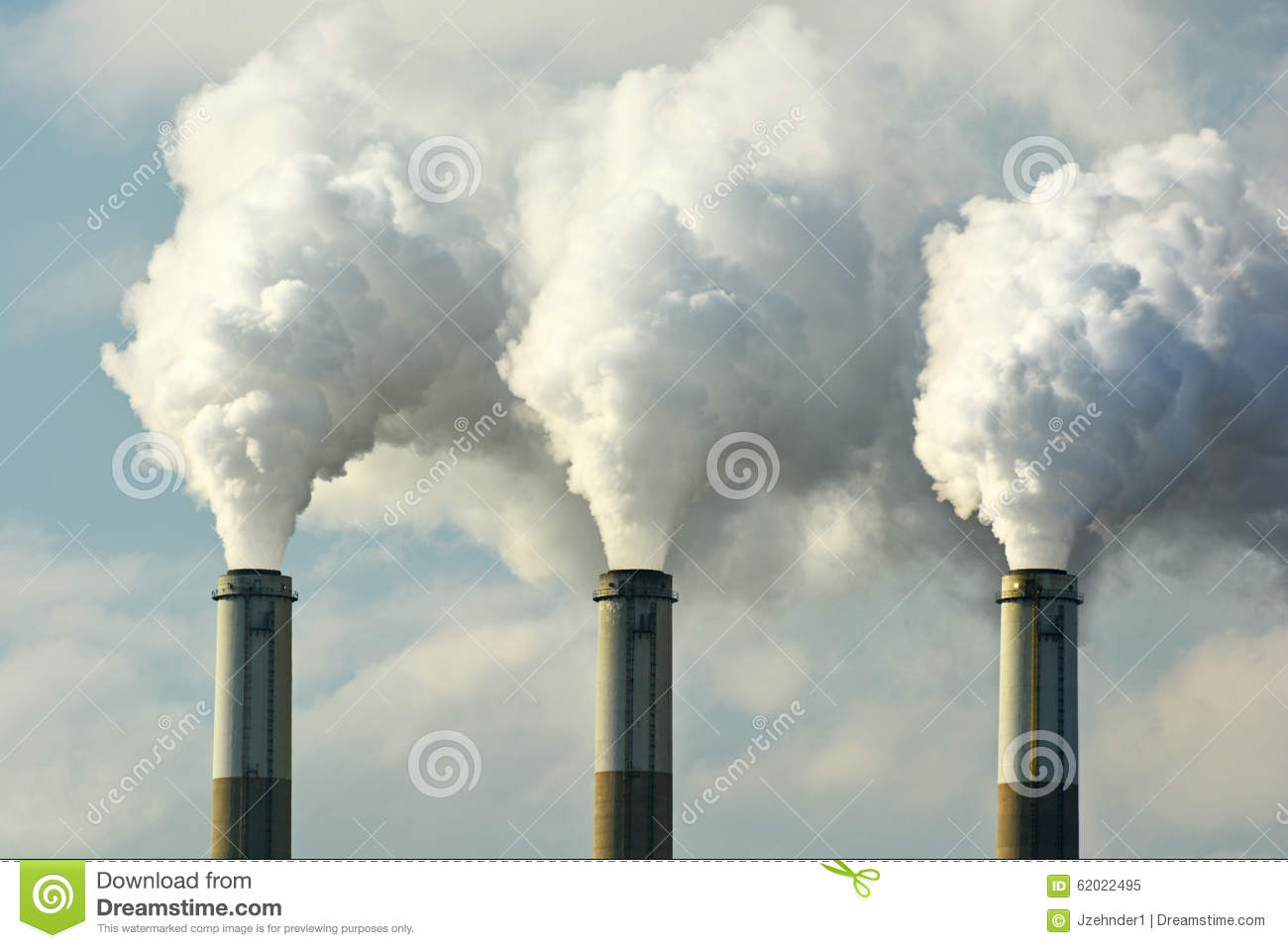 Download Multiple Coal Fossil Fuel Power Plant Smokestacks Emit Carbon Dioxide Pollution Stock Image - Image of cooling, coal: 62022495