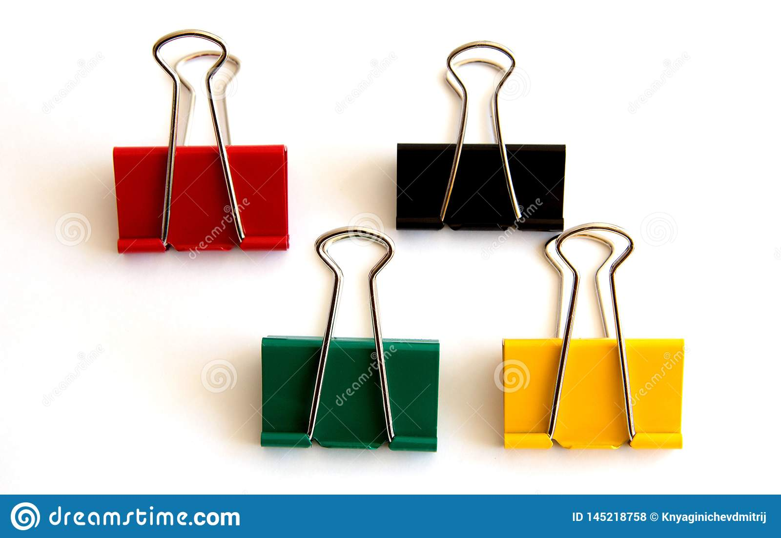Multiple colored paper clip isolated on white background - image
