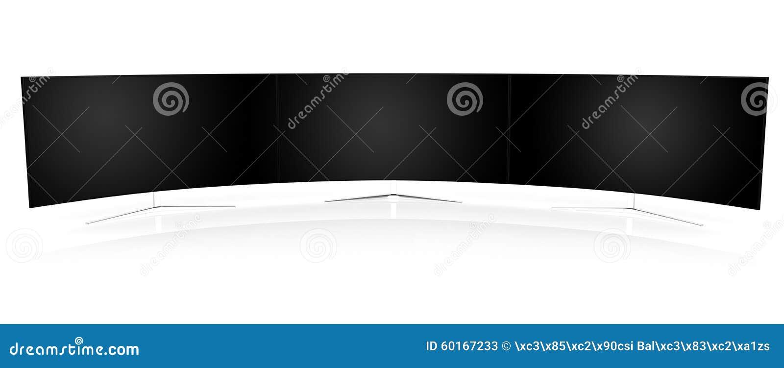multiple curved monitors stock illustration illustration of display