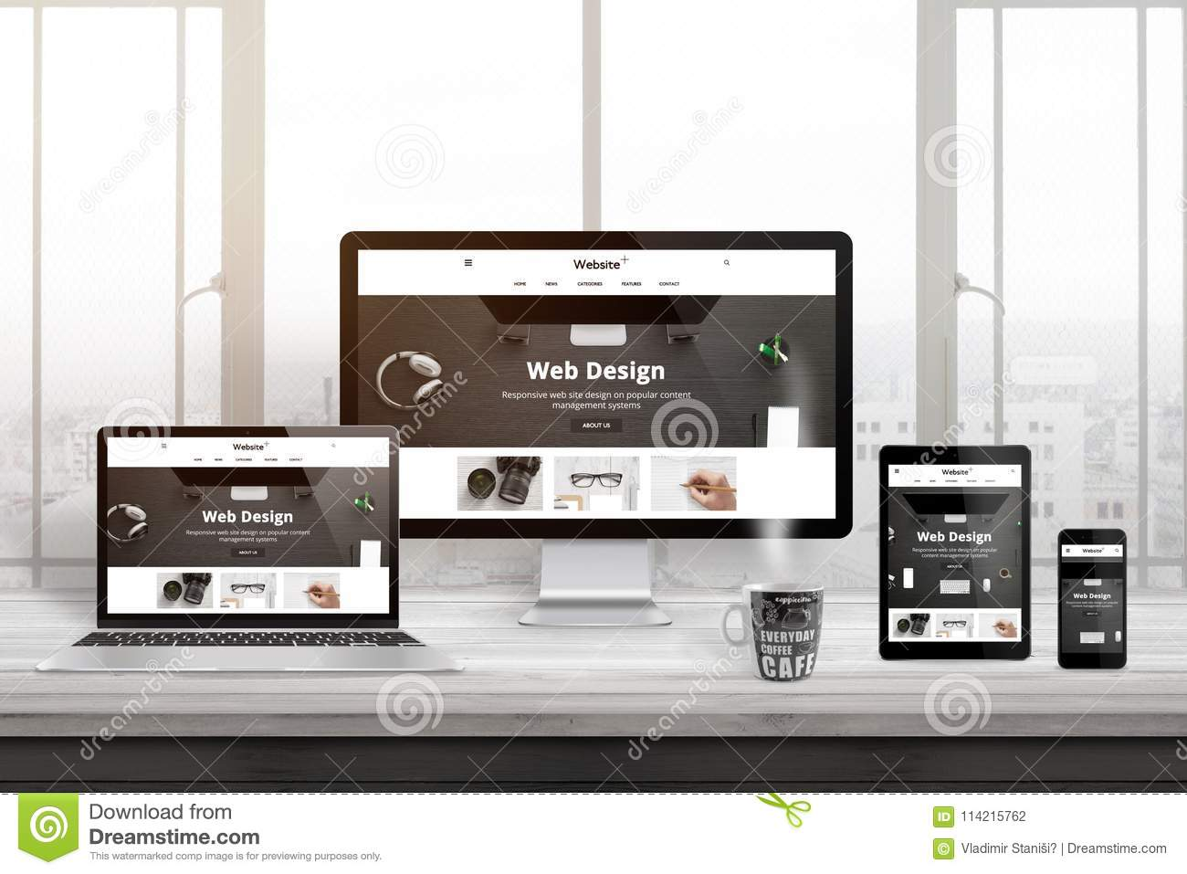 Multiple devices with modern, responsive, flat web site presentation