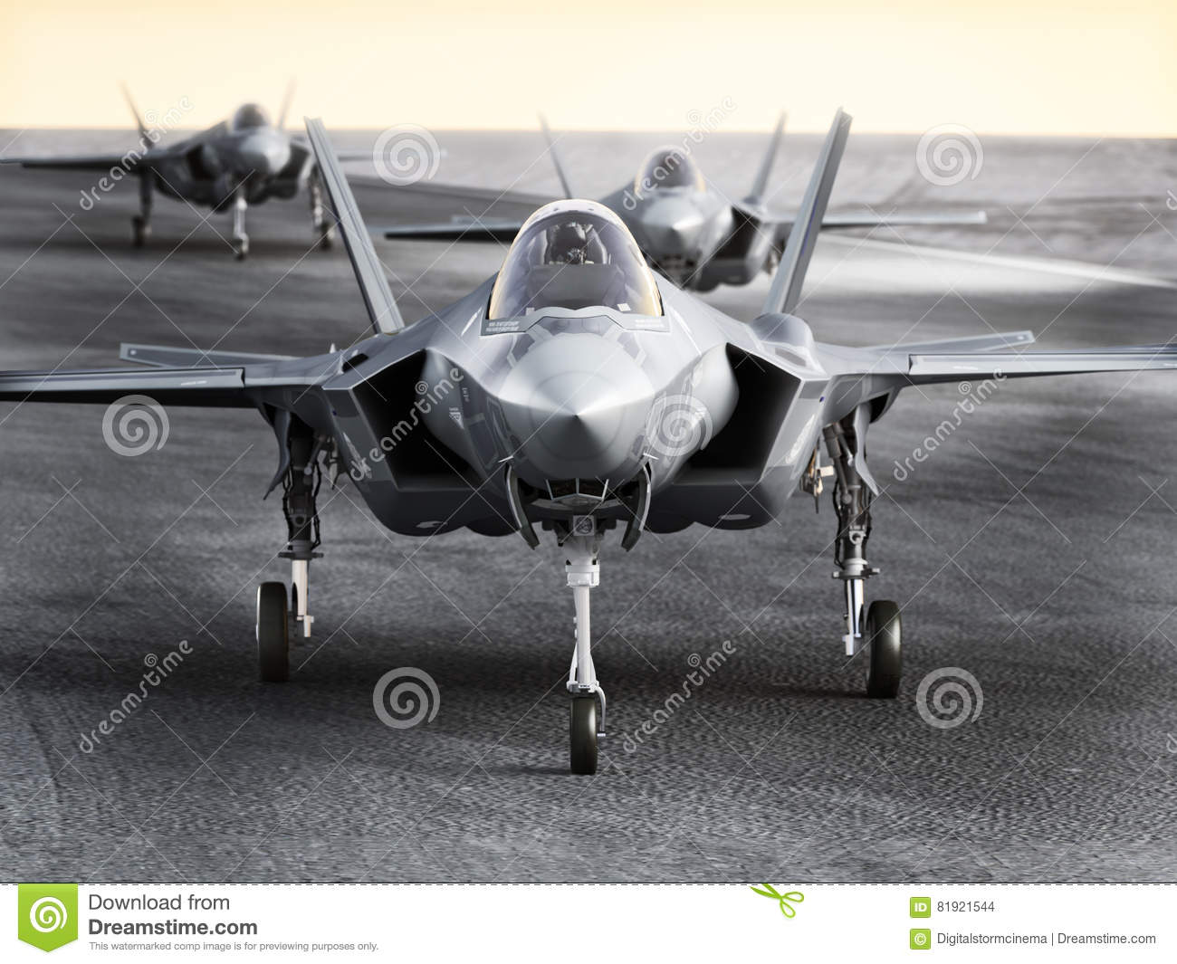 multiple f35 military jet strike aircraft preparing for takeoff on a