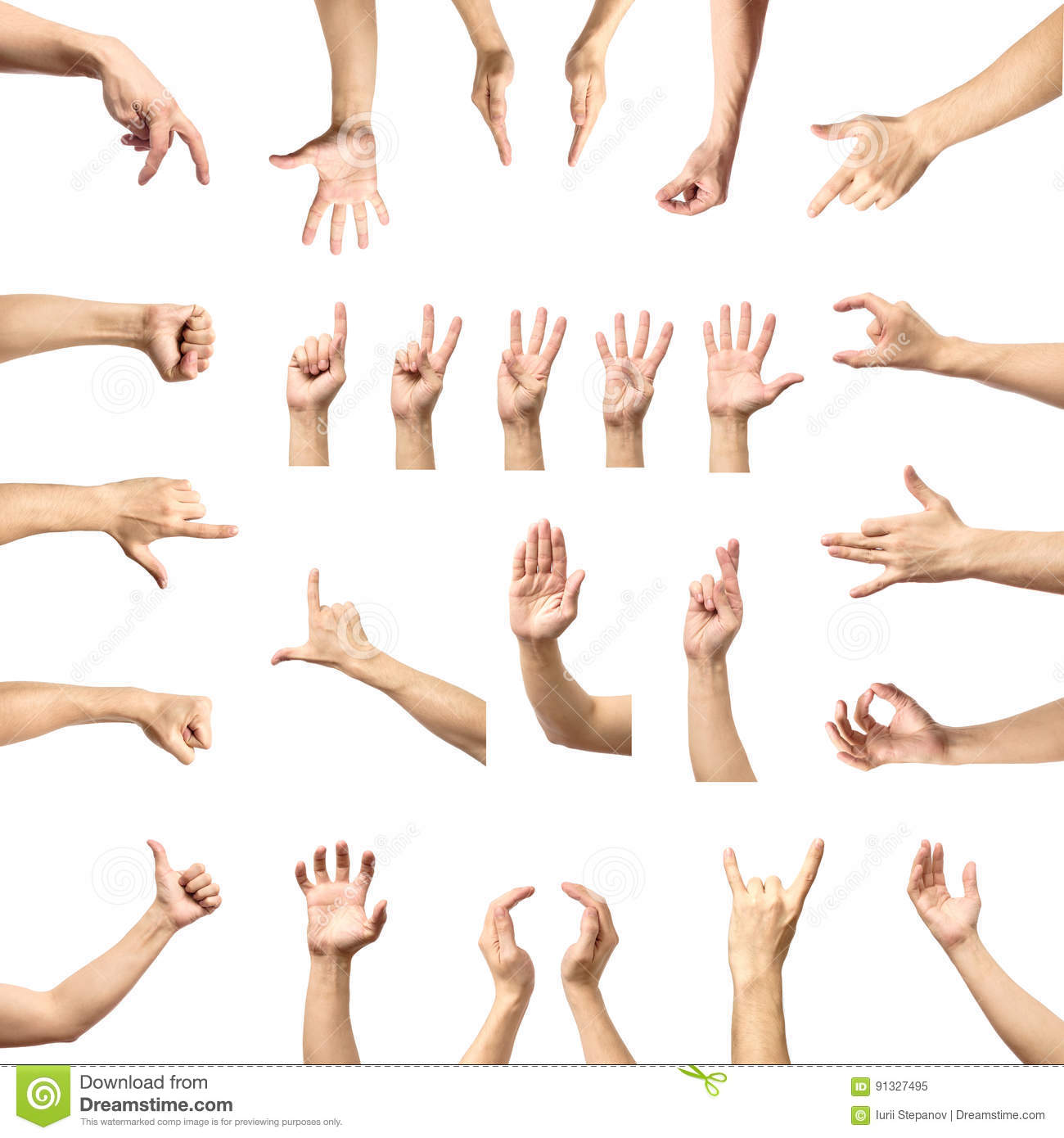 multiple male caucasian hand gestures isolated over the white ba