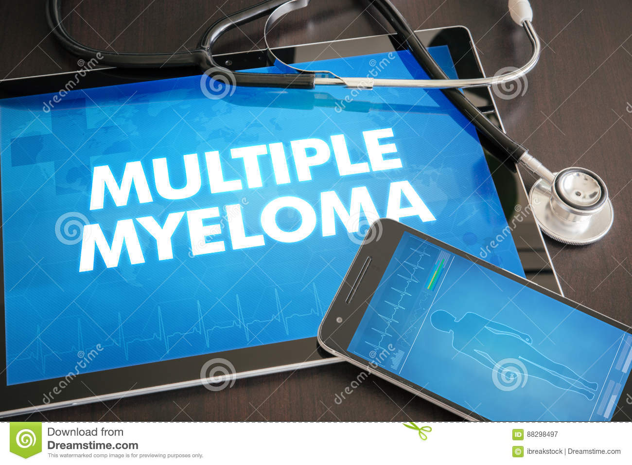 Multiple myeloma (cancer type) diagnosis medical concept on tablet screen with stethoscope