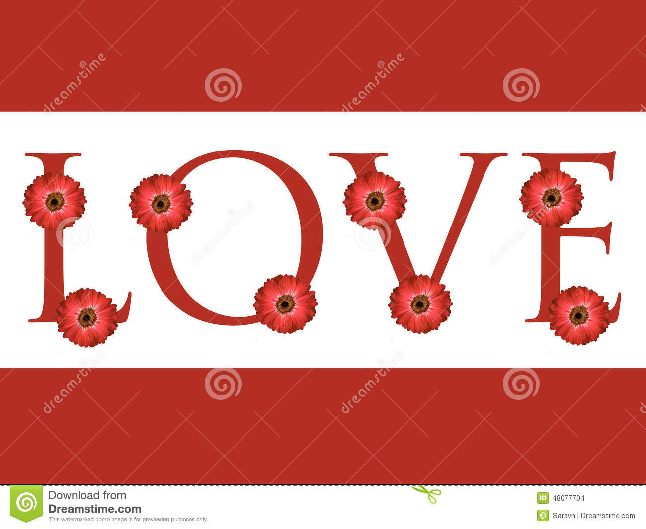 multiple red daisy flower love letter design valentines day card background