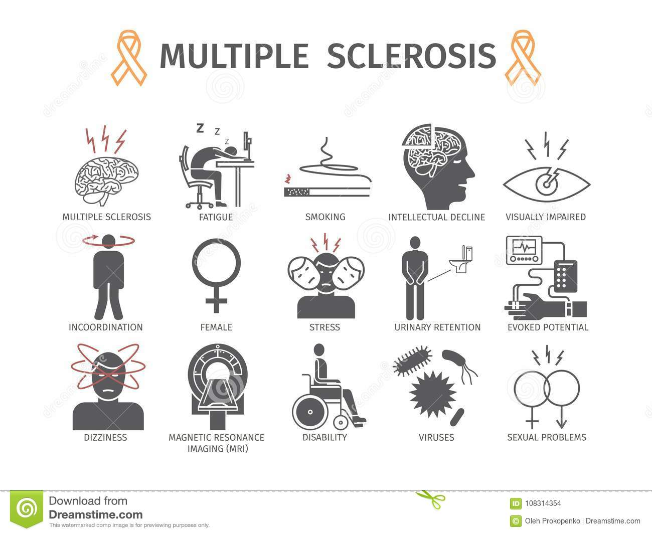 multiple sclerosis anatomical vector illustration diagram