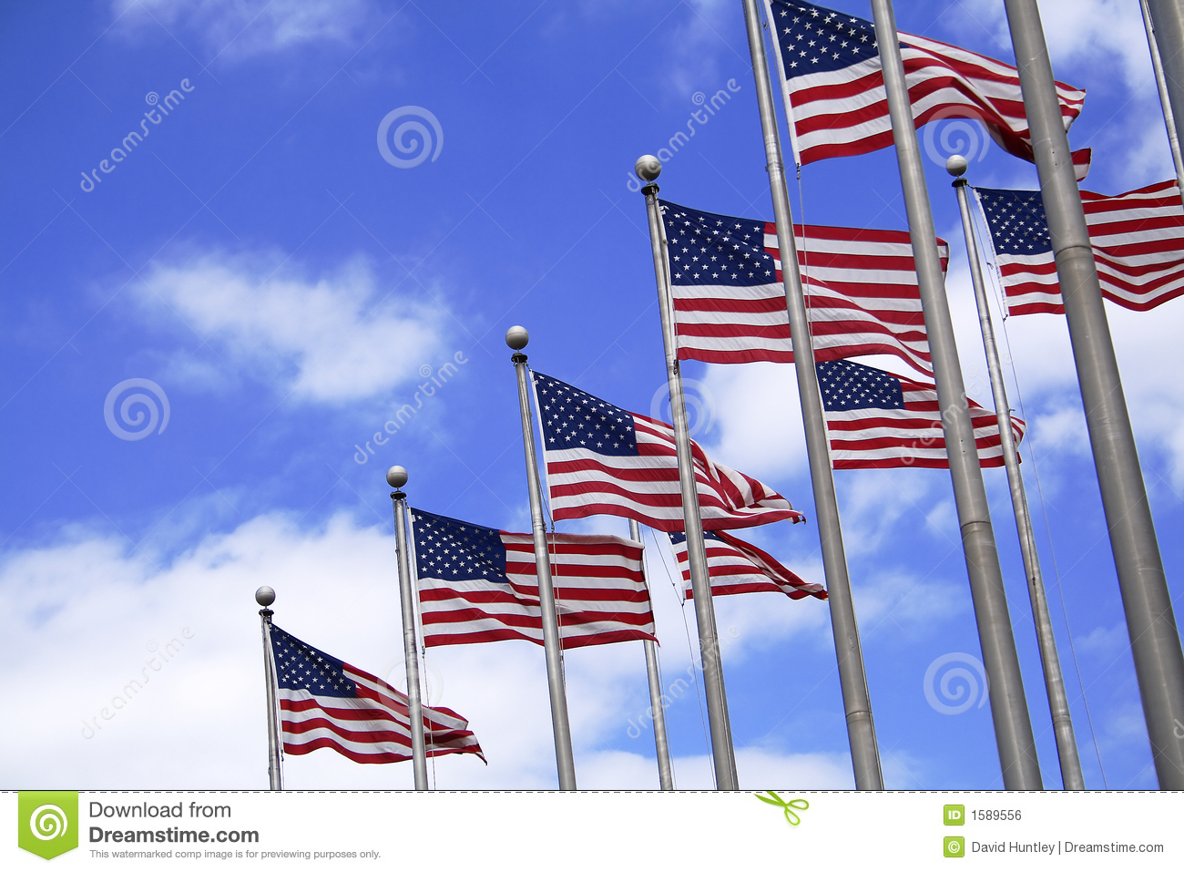 multiple us flags stock photo  image of theme  holiday