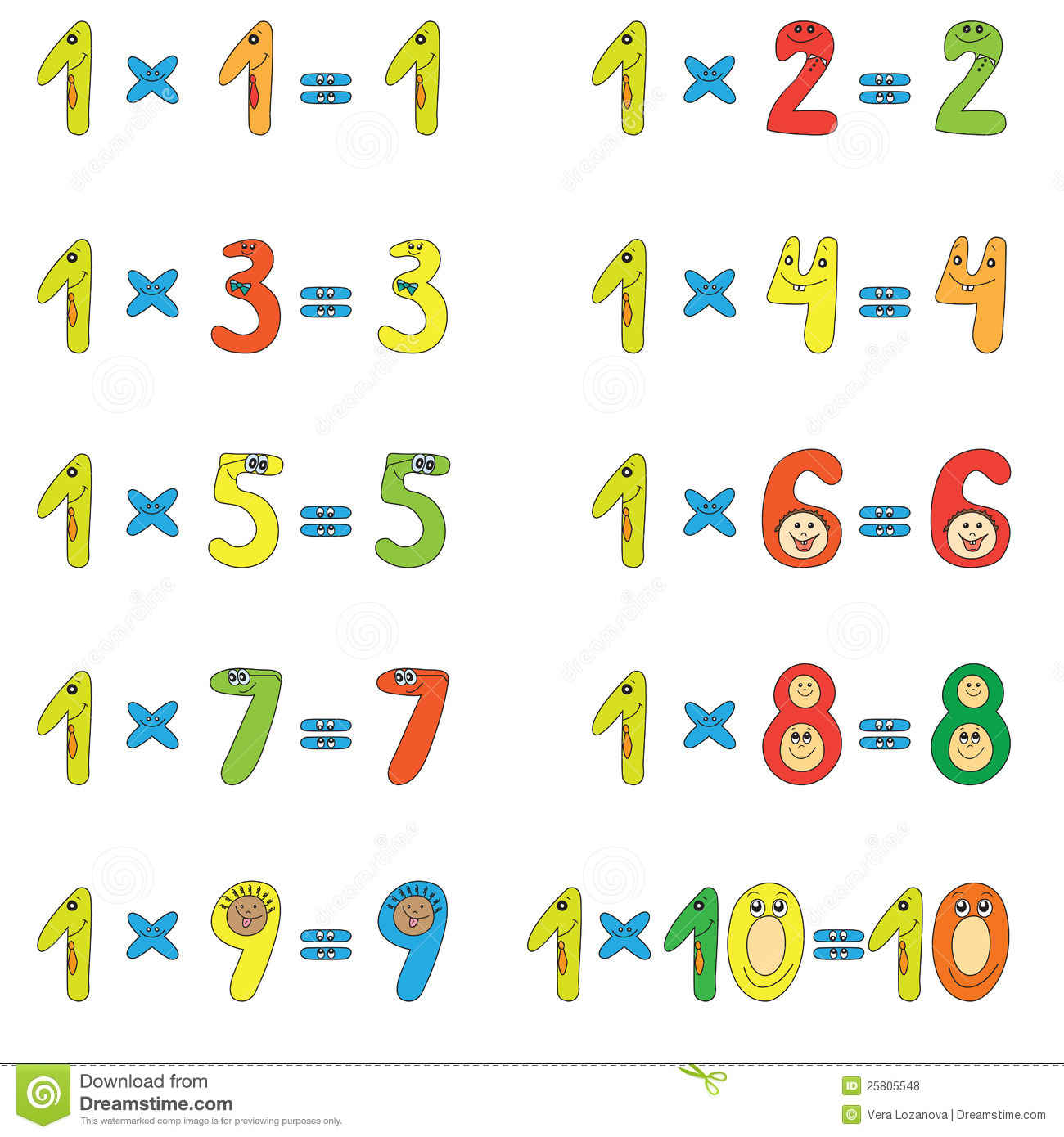 Multiplication Table Of 1 Stock Vector  Image Of