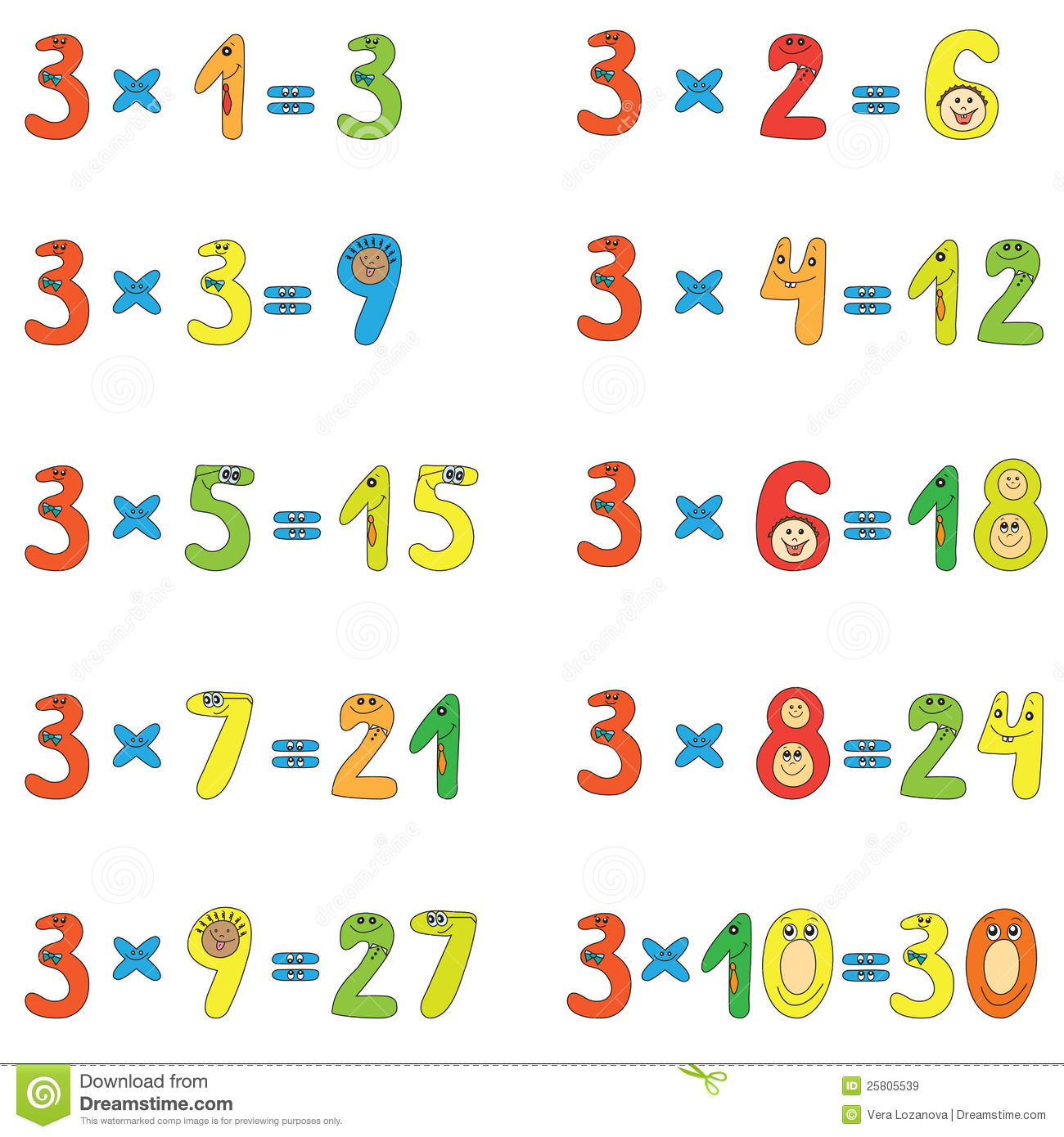 Multiplication table of 3 stock vector image of preschool for Table multiplication 3
