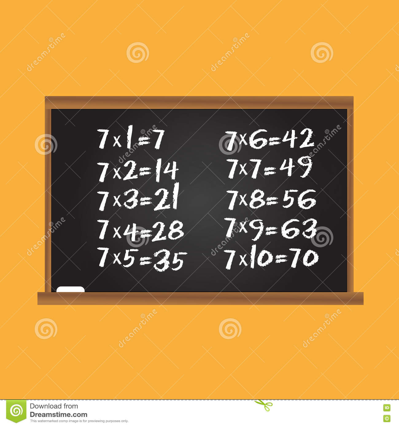 Multiplication Table Number Seven Row On School Chalk Board