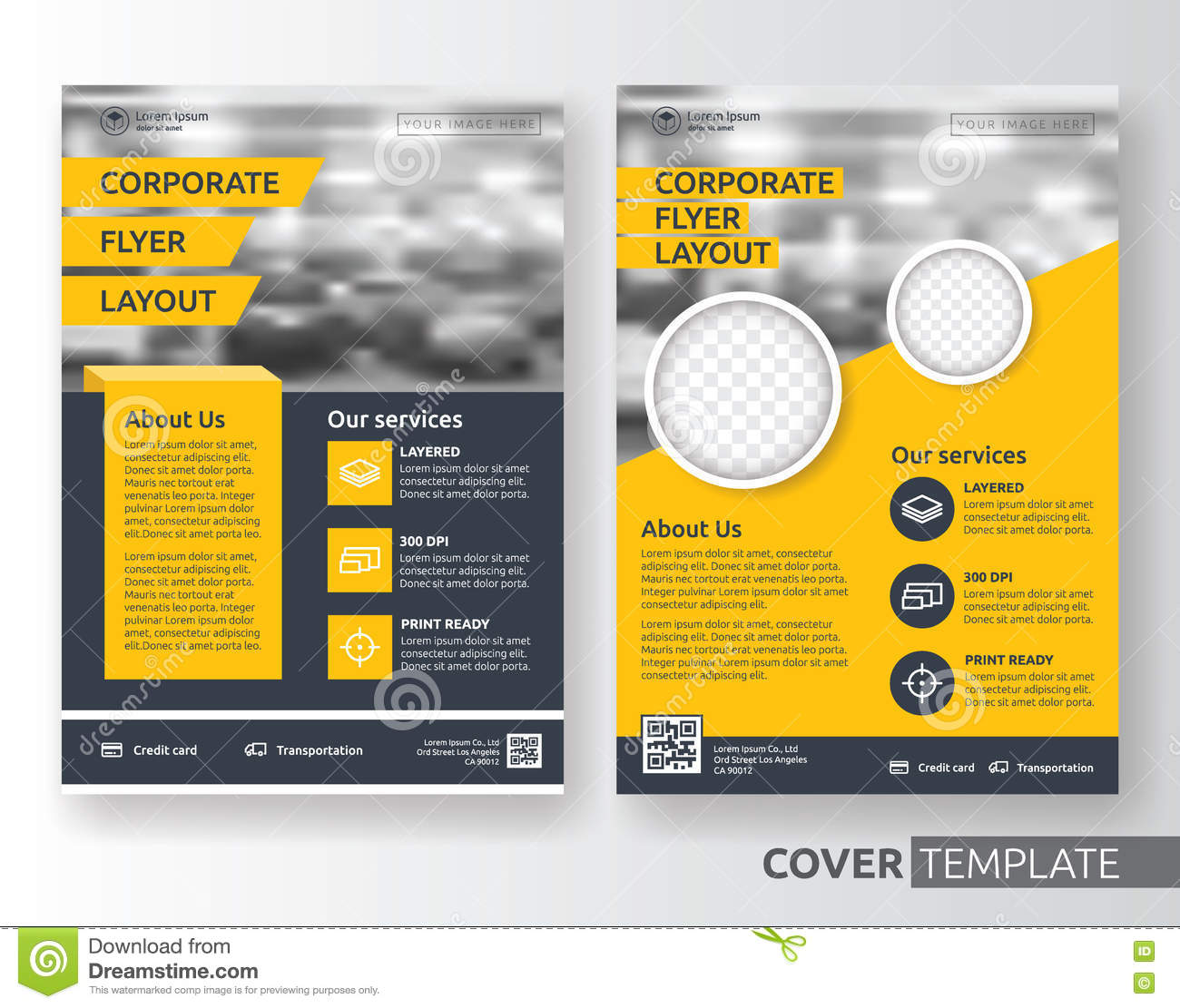 Multipurpose Flyer Layout With Black And White Curved