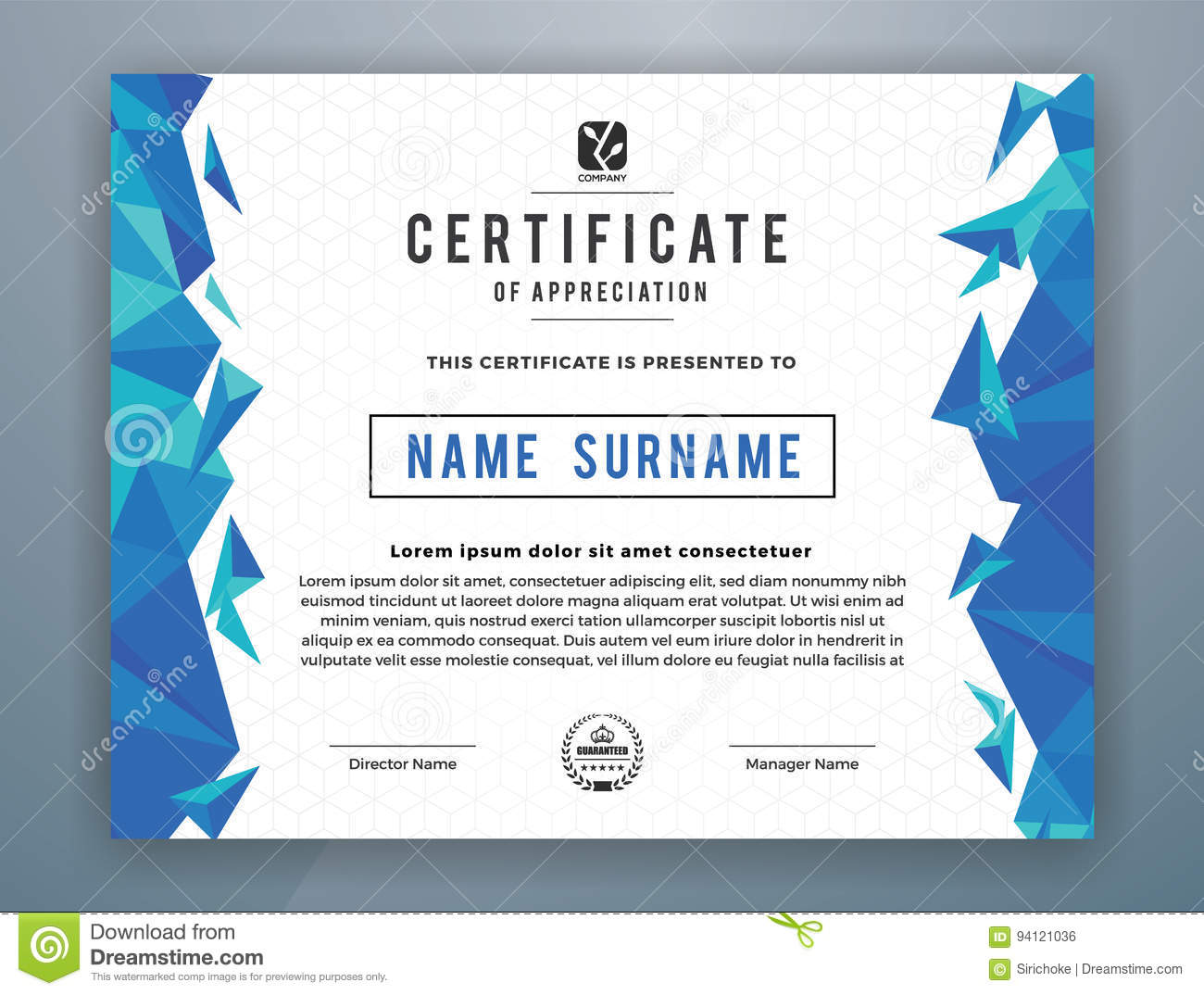 multipurpose modern professional certificate template stock vector