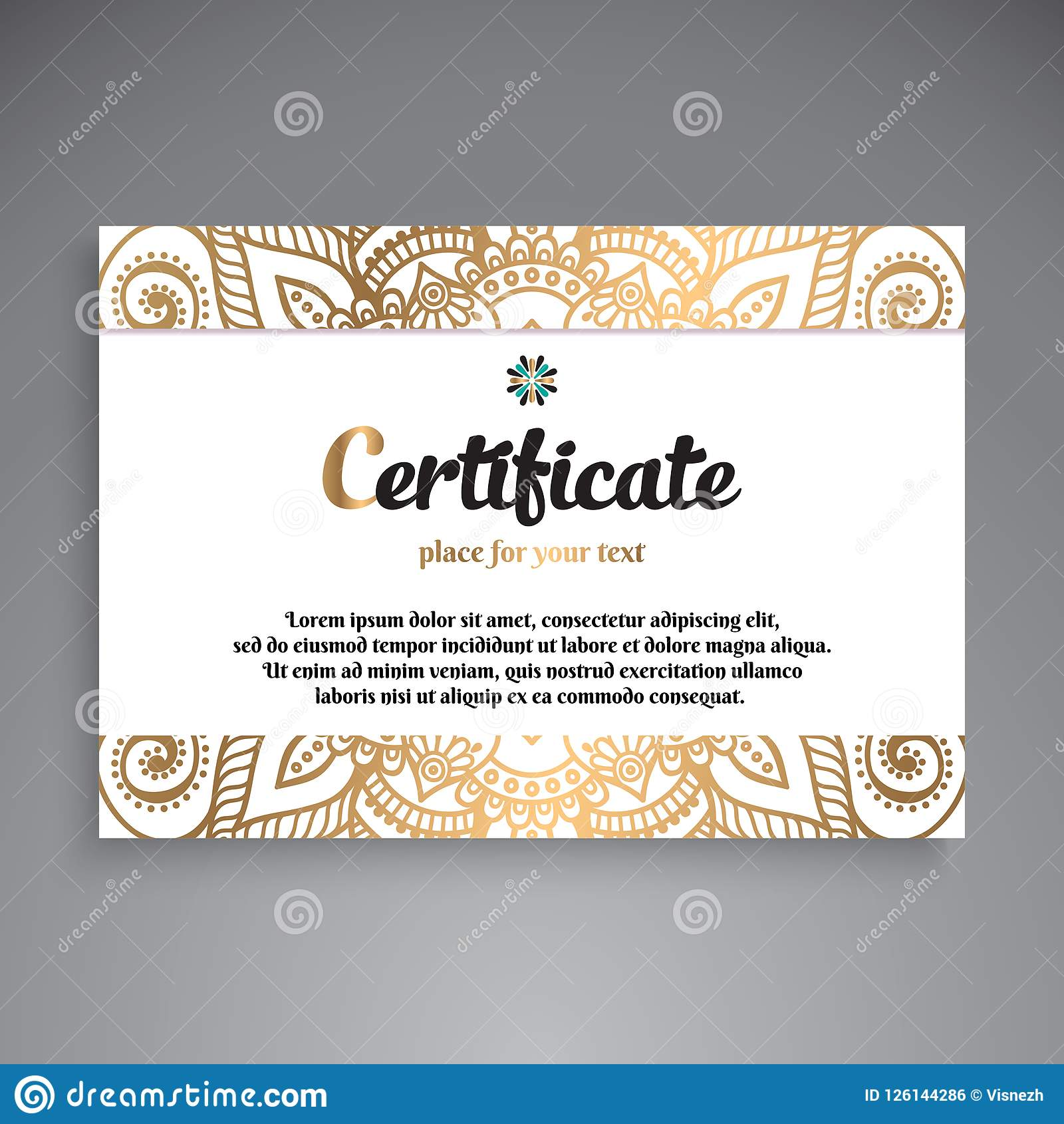Professional Certificate Template Design Stock Vector Illustration