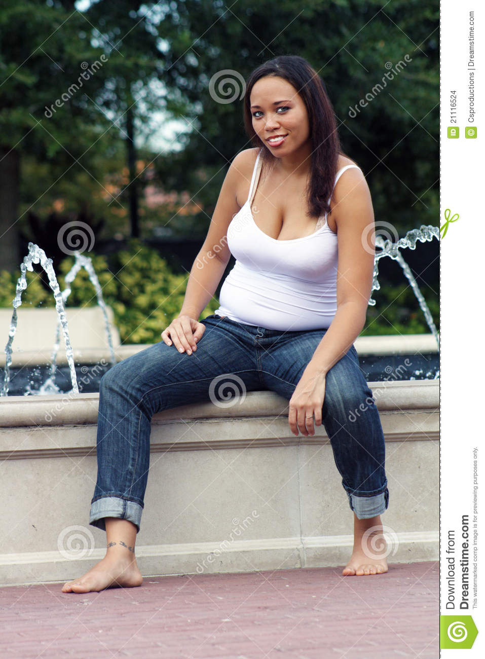 Multiracial Woman Five Months Pregnant  12  Stock Photo