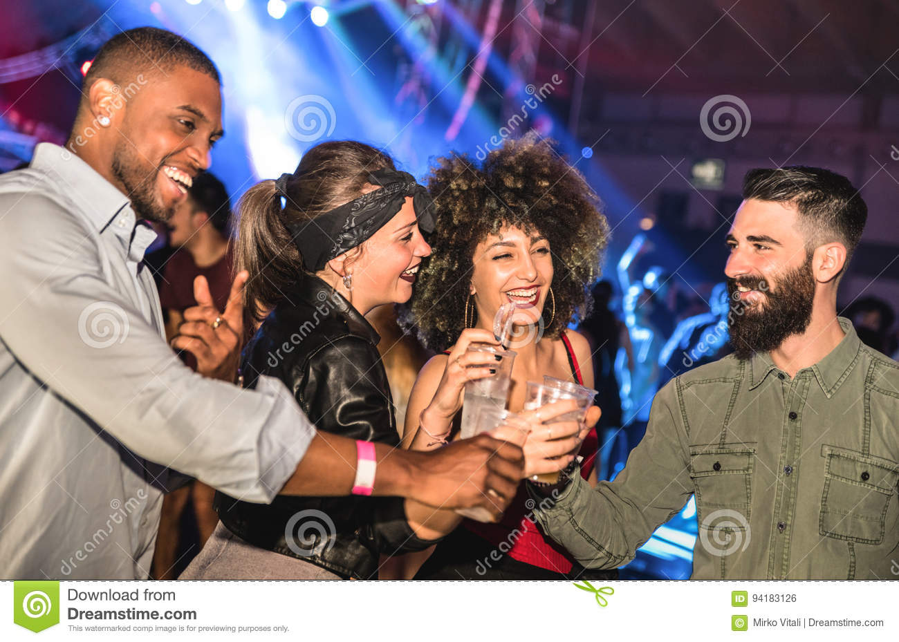 Multiracial young friends dancing at night club - Happy people