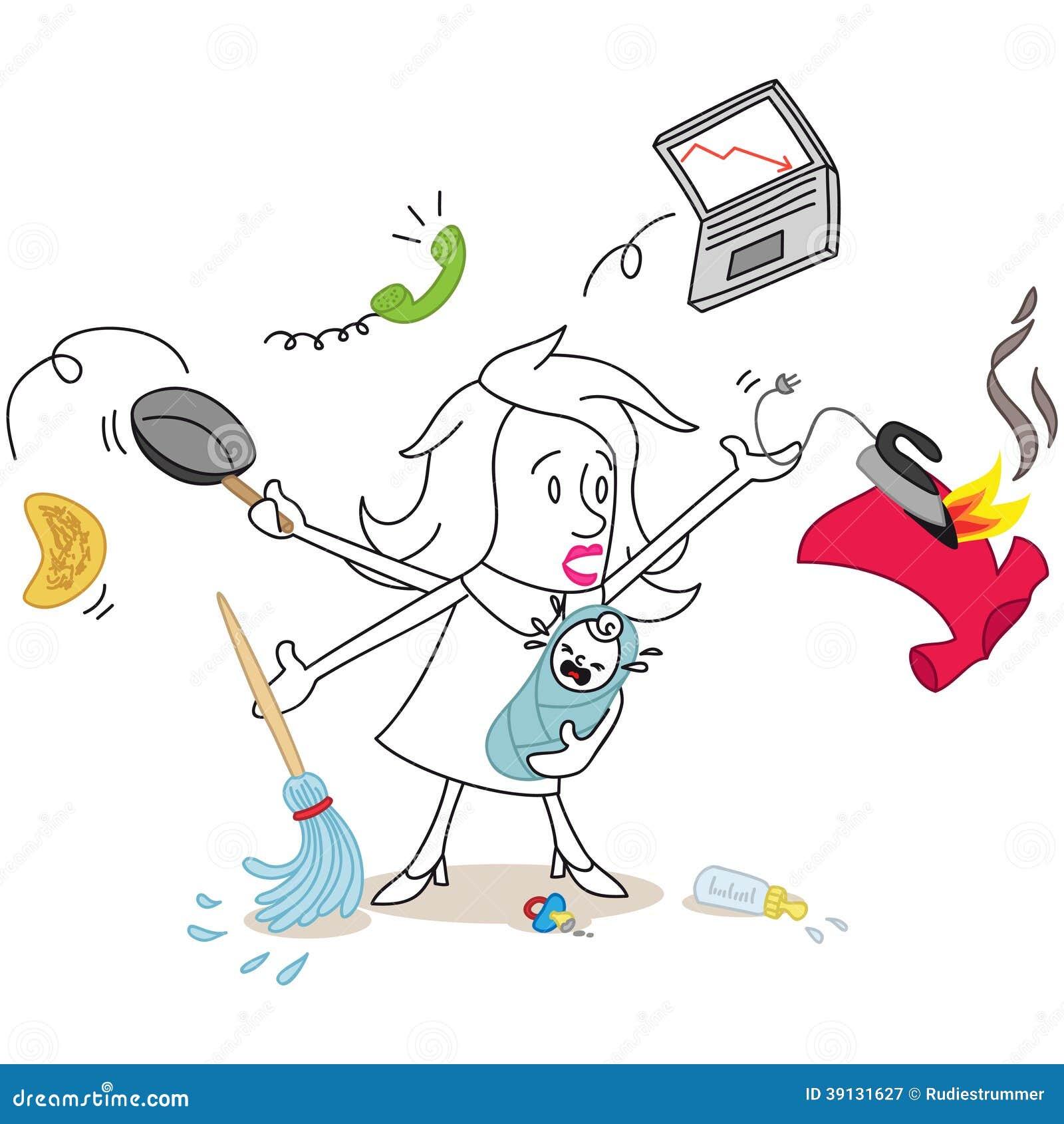 Multitarefa do caos da mulher dos desenhos animados