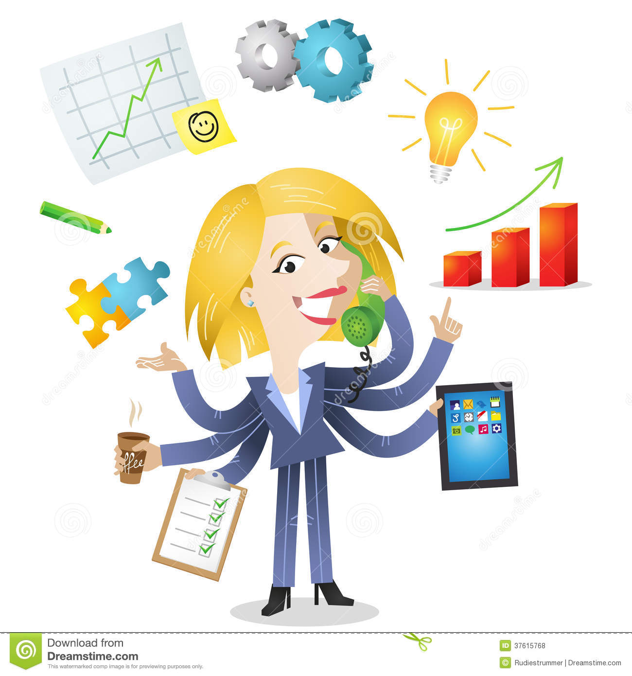 Multitasking Blond Business Woman Royalty Free Stock Photos for Animated Business Clipart Free