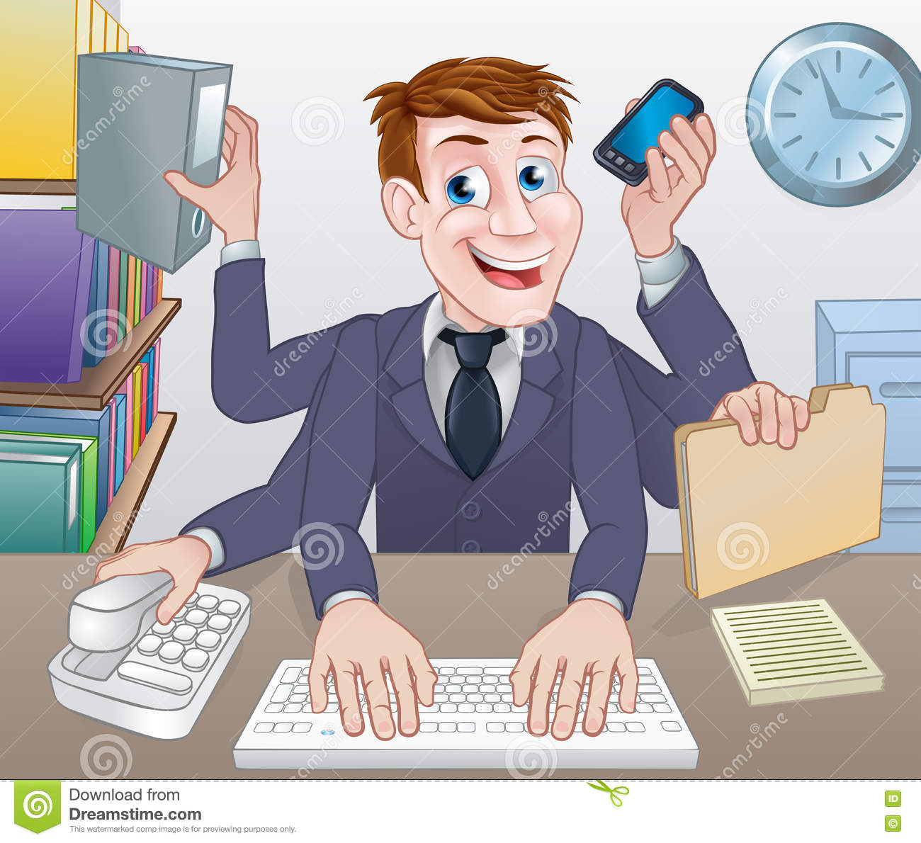 Multitasking Business Man Cartoon Stock Vector - Image ...