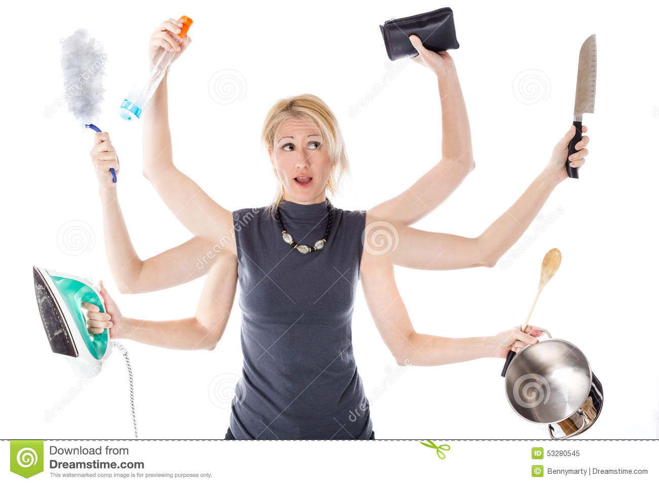 Very busy multitasking housewife on white background. Concept of ...