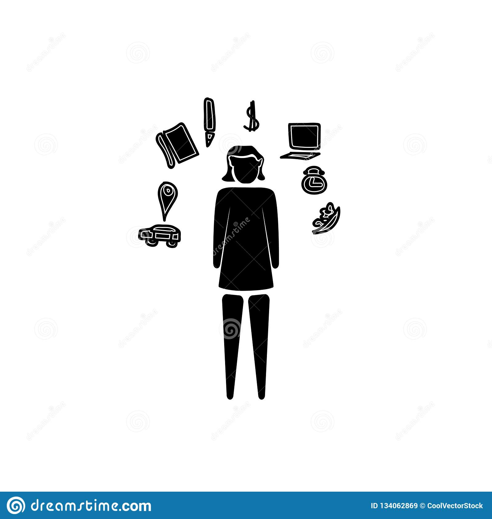 Multitasking kvinnasymbolsvektor som isoleras på vit bakgrund, Multitasking kvinnatecken, affärsillustrationer