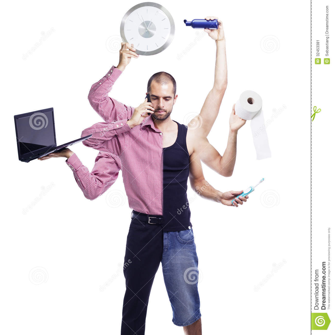 We Normally Sell Two A Day Today We Are Selling Up To 15: Multitasking Man Multiple Arms Stock Images