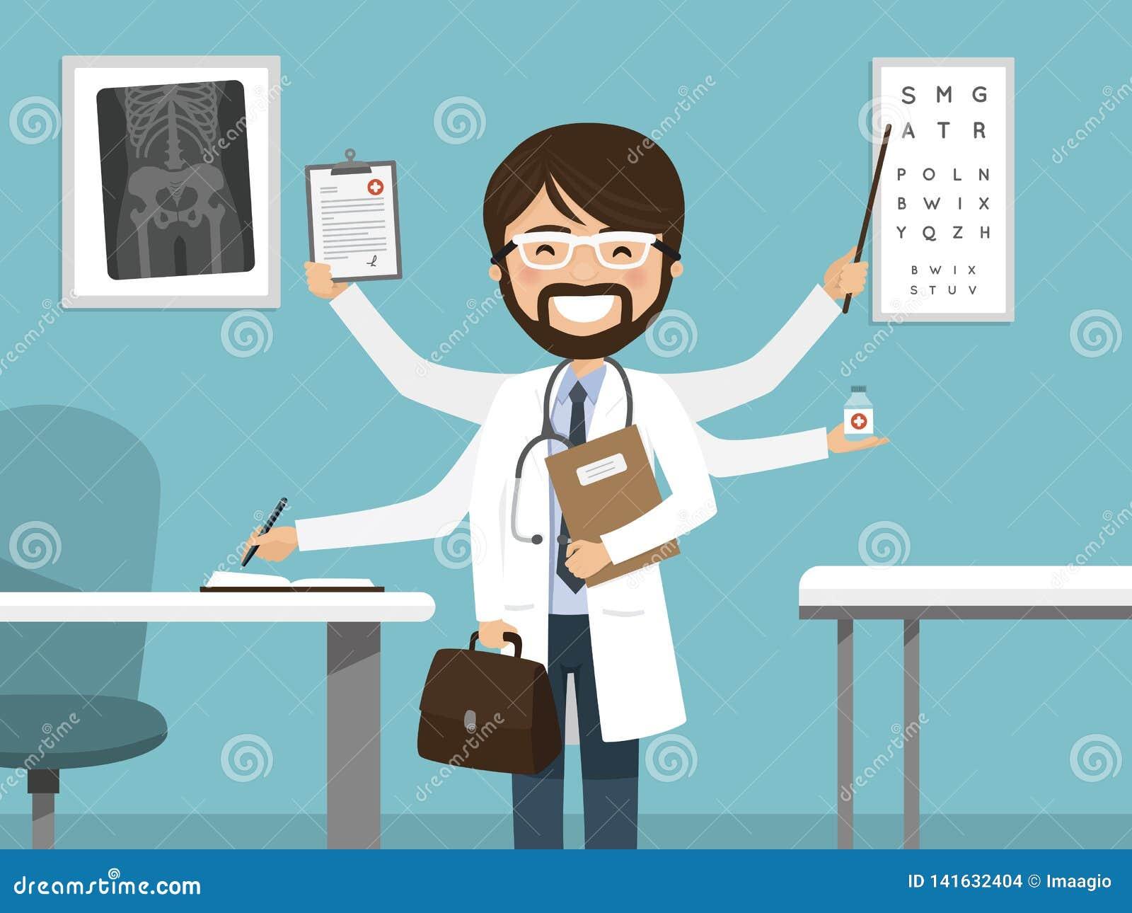 Multitasking upptaget manligt le för doktor Yrkesmässigt anseende i sjukhuset