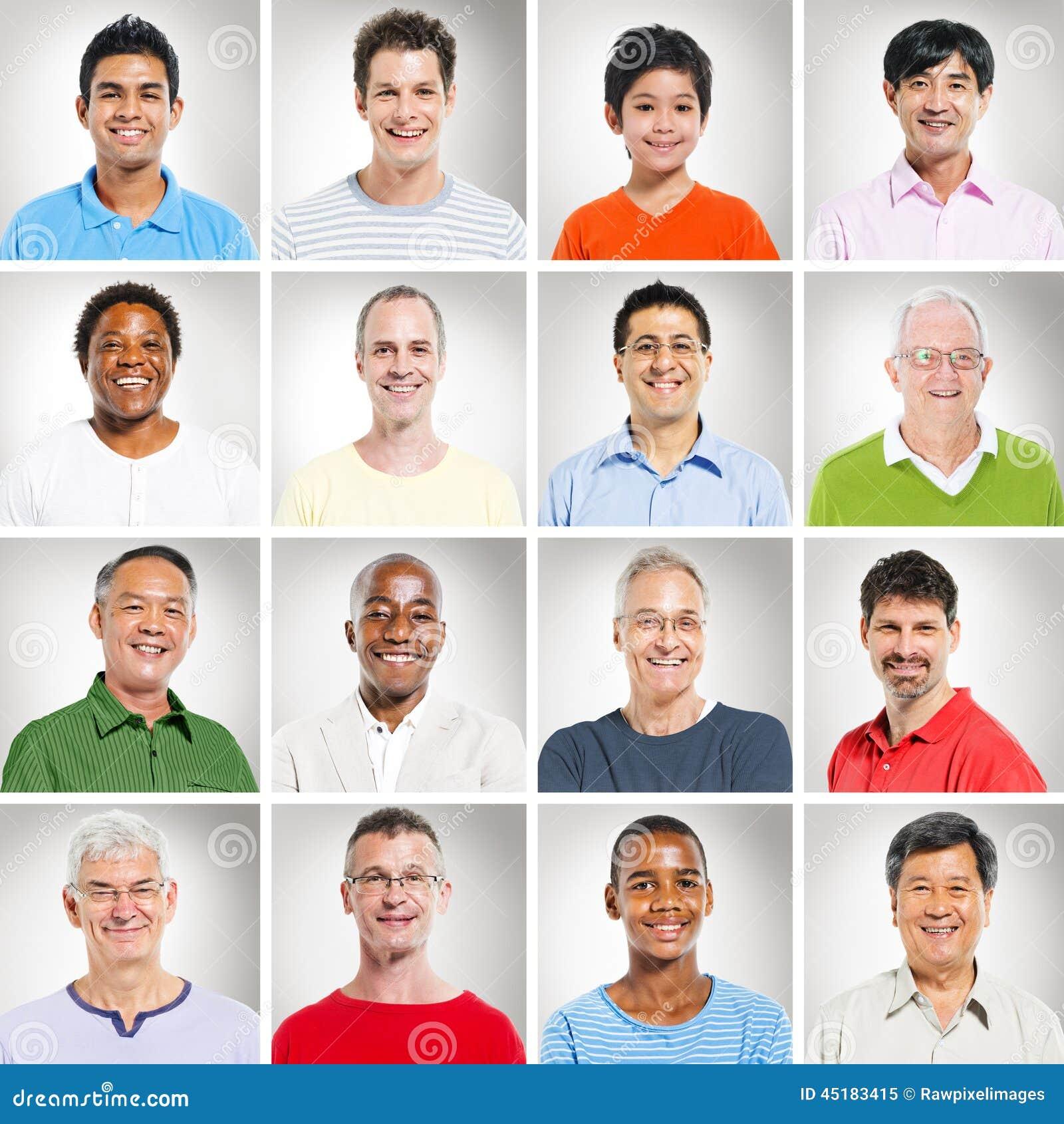 Multithnicsgroep die Mensen Portretten glimlachen