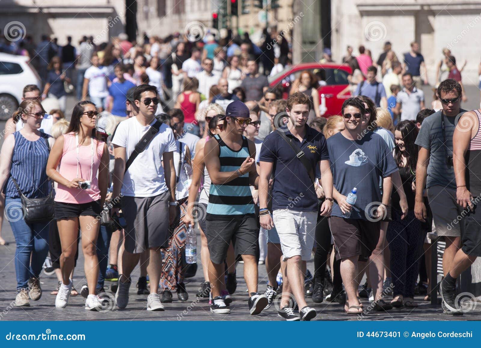 Multitude Of Tourist Walking Editorial Photo Image 44673401