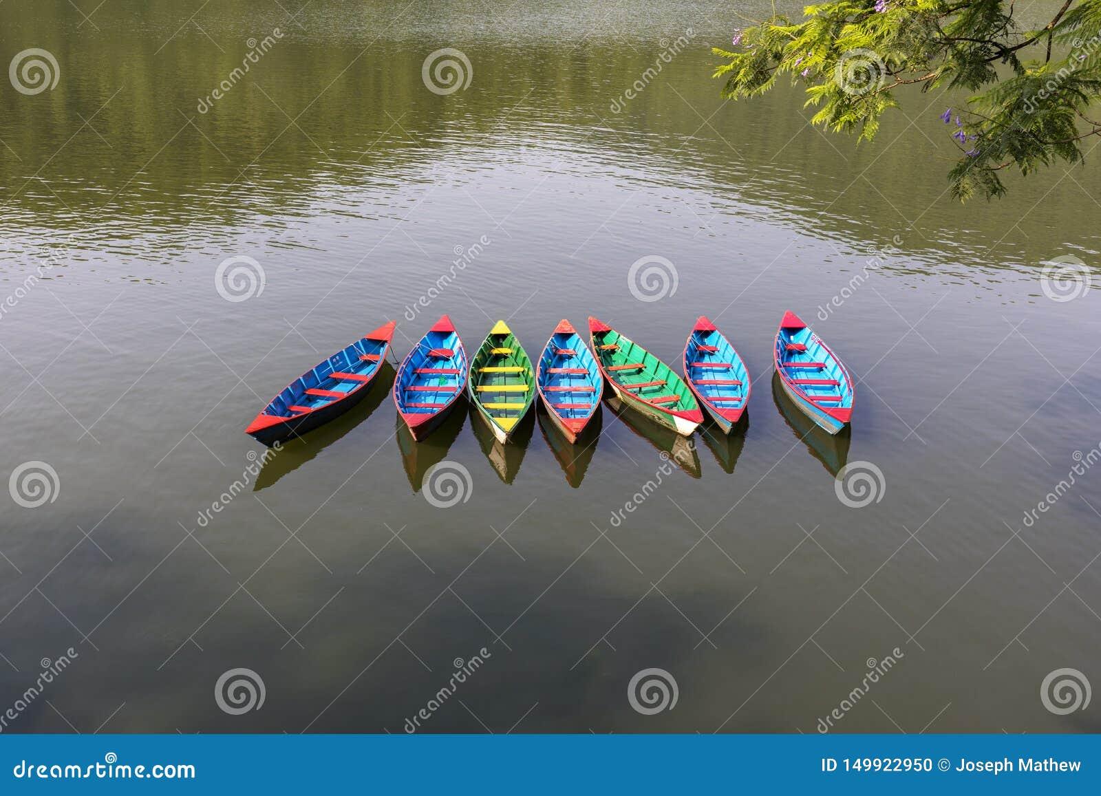 Multy barwił szalunek wioślarskie łodzie na Fewa jeziorze Nepal