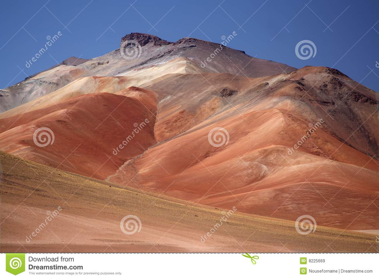 Multy-colored mountain in the Daly desert