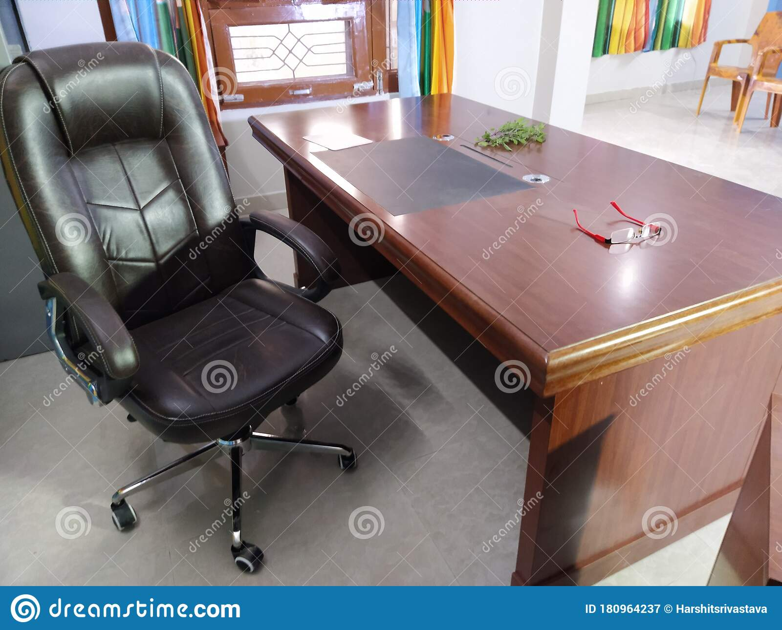 An Interior Of The Home Office With An Executive Chair And The Big Table Stock Image Image Of Contemporary Manager 180964237
