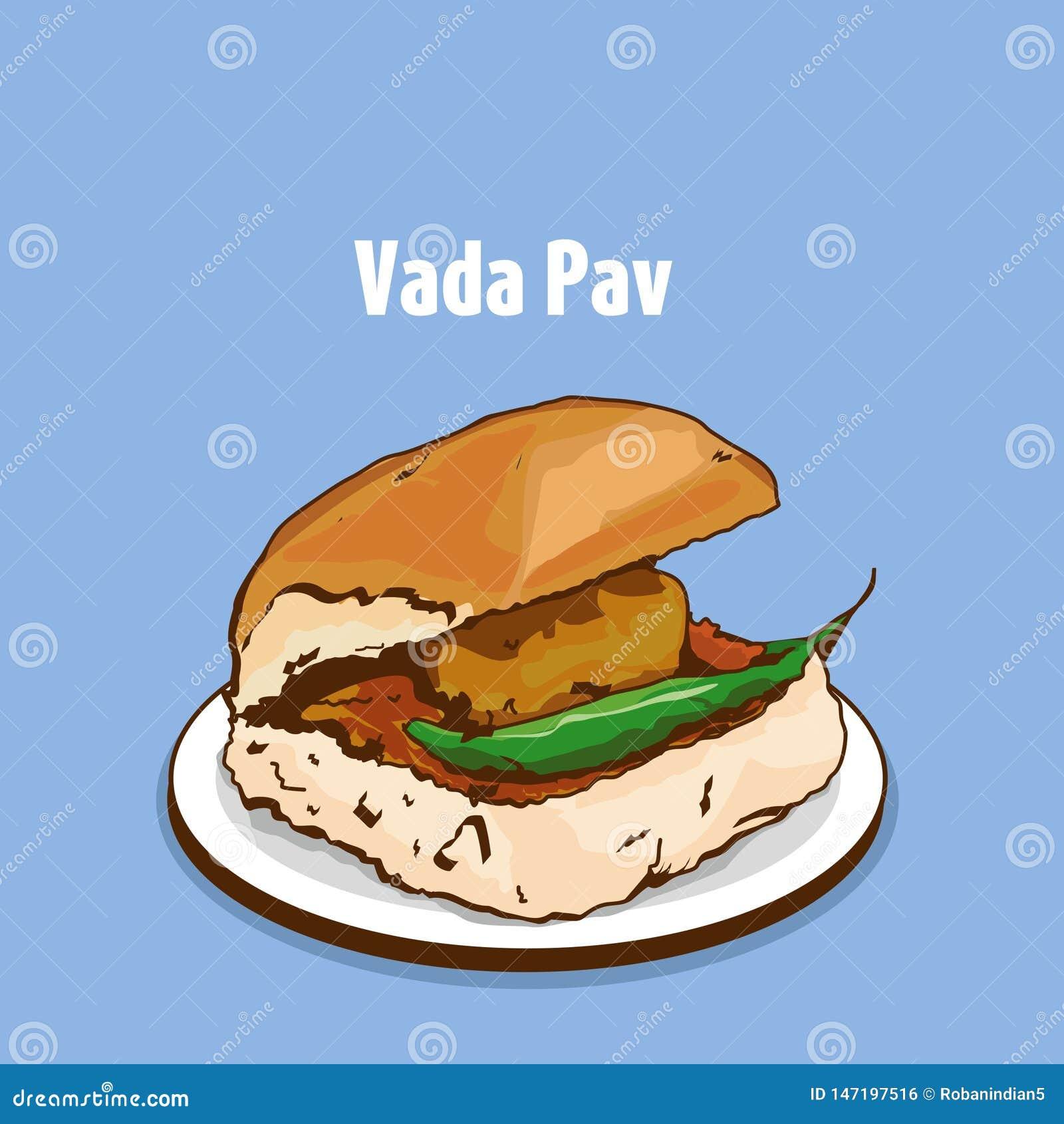 Mumbai-Straßennahrung-vada PAV Vektor