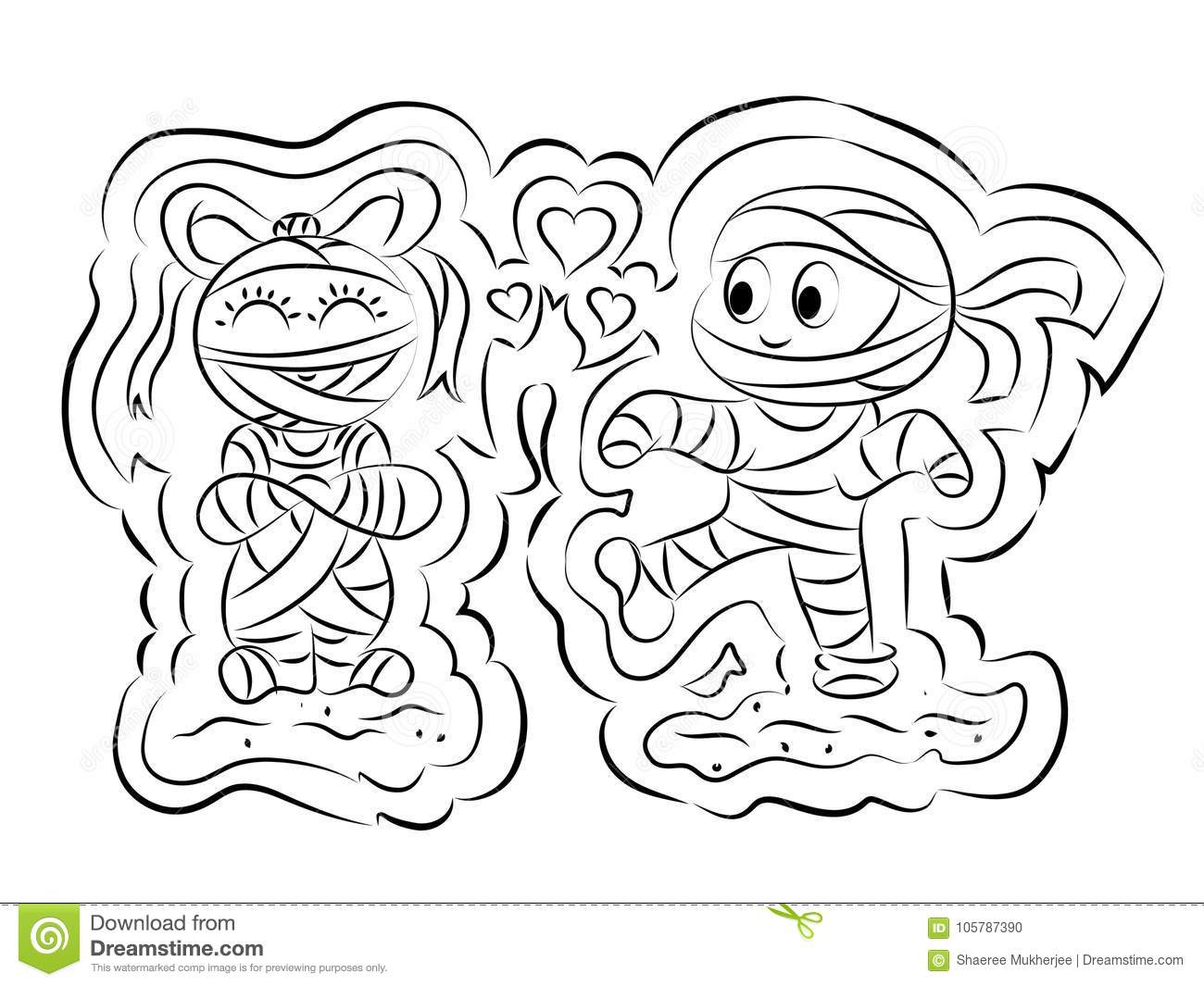 Mummy Coloring Page For Kids Stock Vector - Illustration of ...