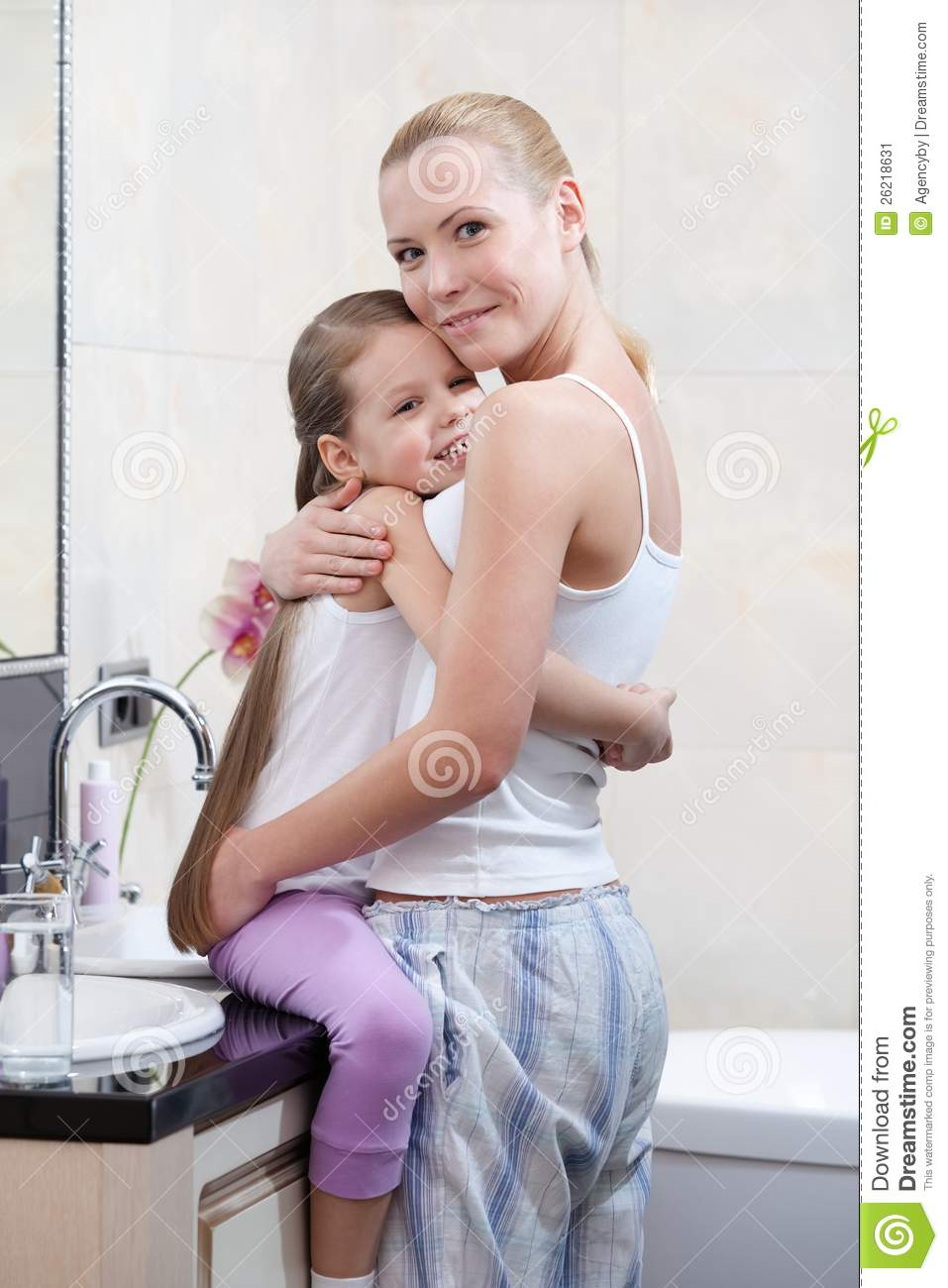 Mummy And Daughter Are In Bathroom Stock Image Image