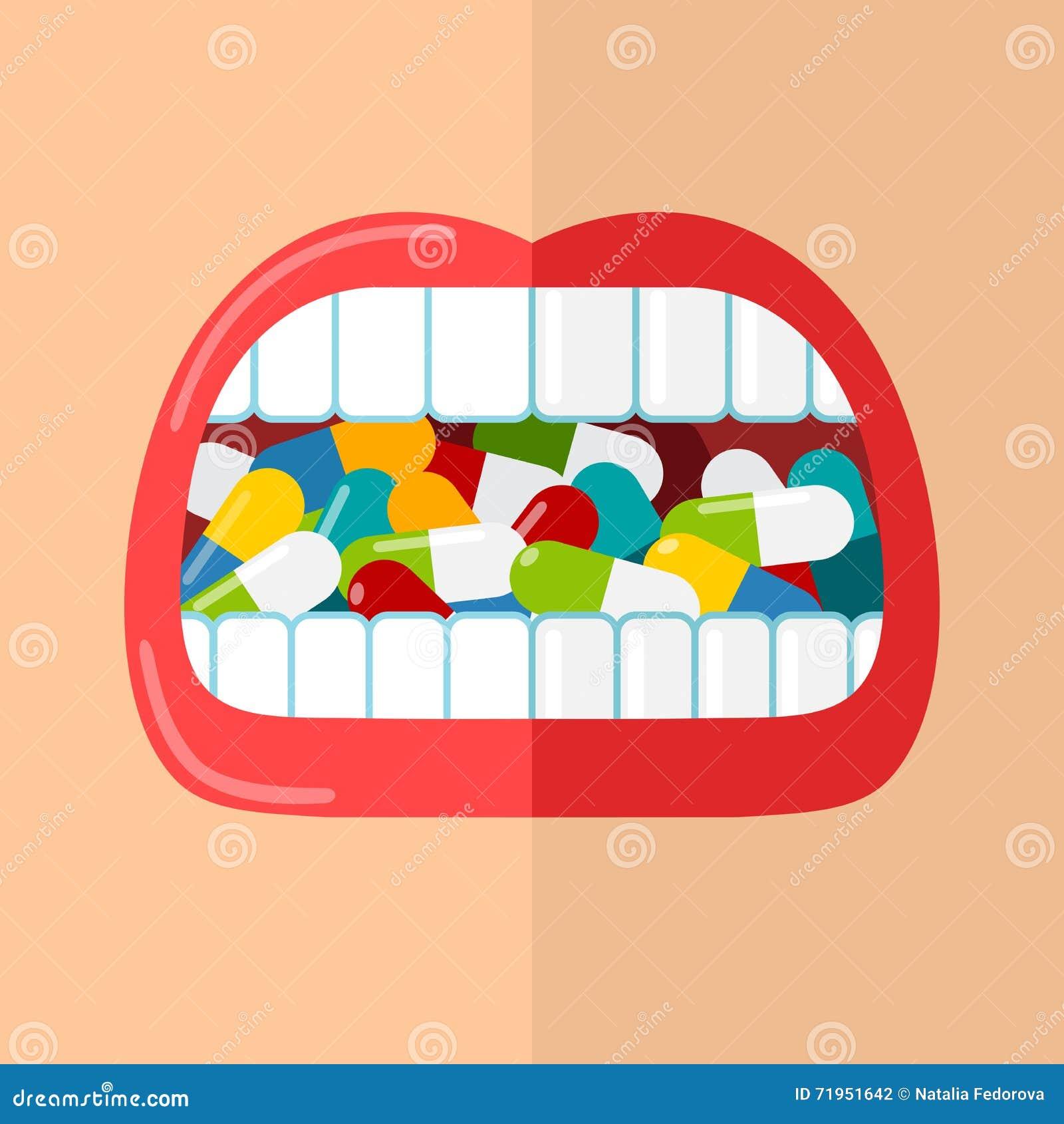 Mund ist von den Pillen voll