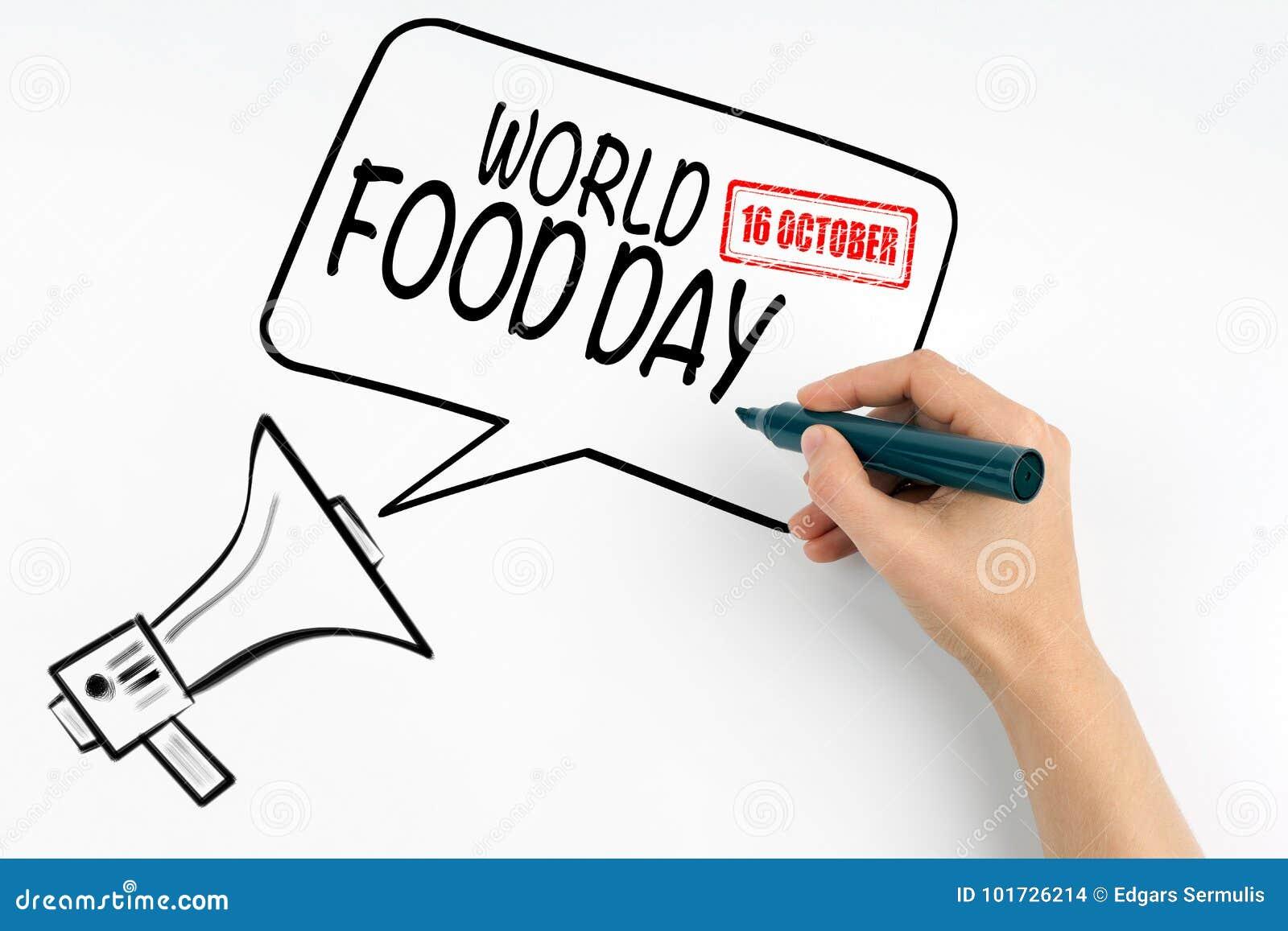 Mundo alimento dia o 16 de outubro Megafone e texto em um fundo branco